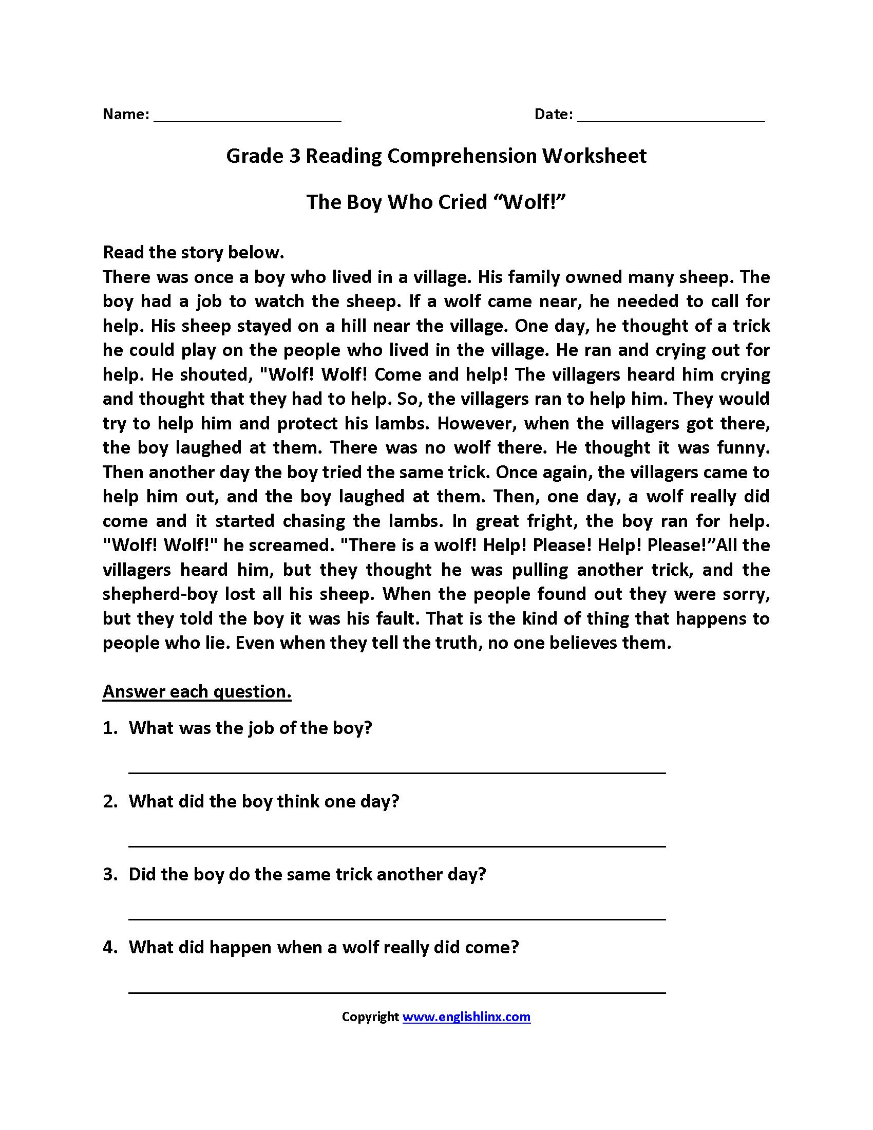 English Worksheets | Reading Worksheets - Third Grade Reading Worksheets Free Printable