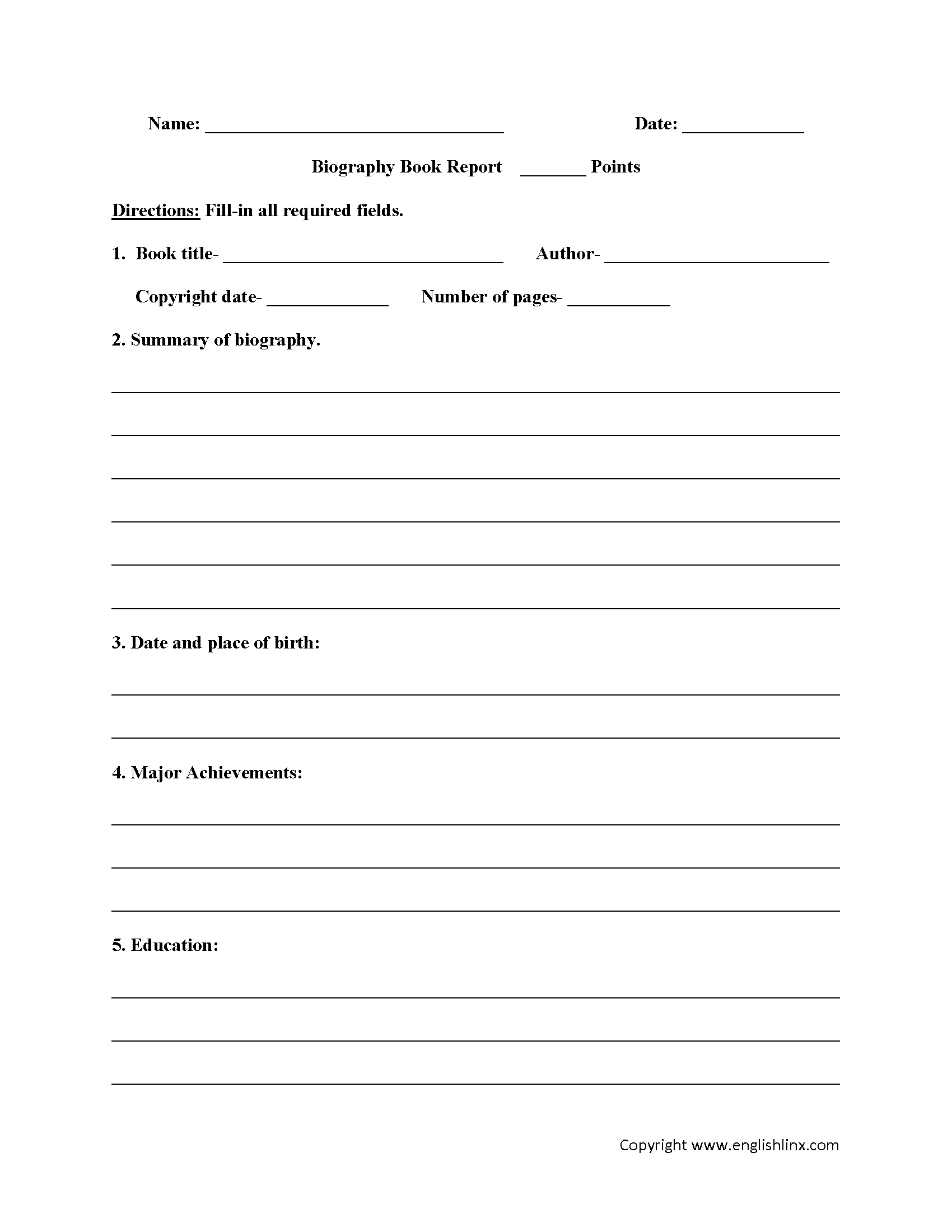 Englishlinx | Book Report Worksheets - Free Printable Books For 5Th Graders