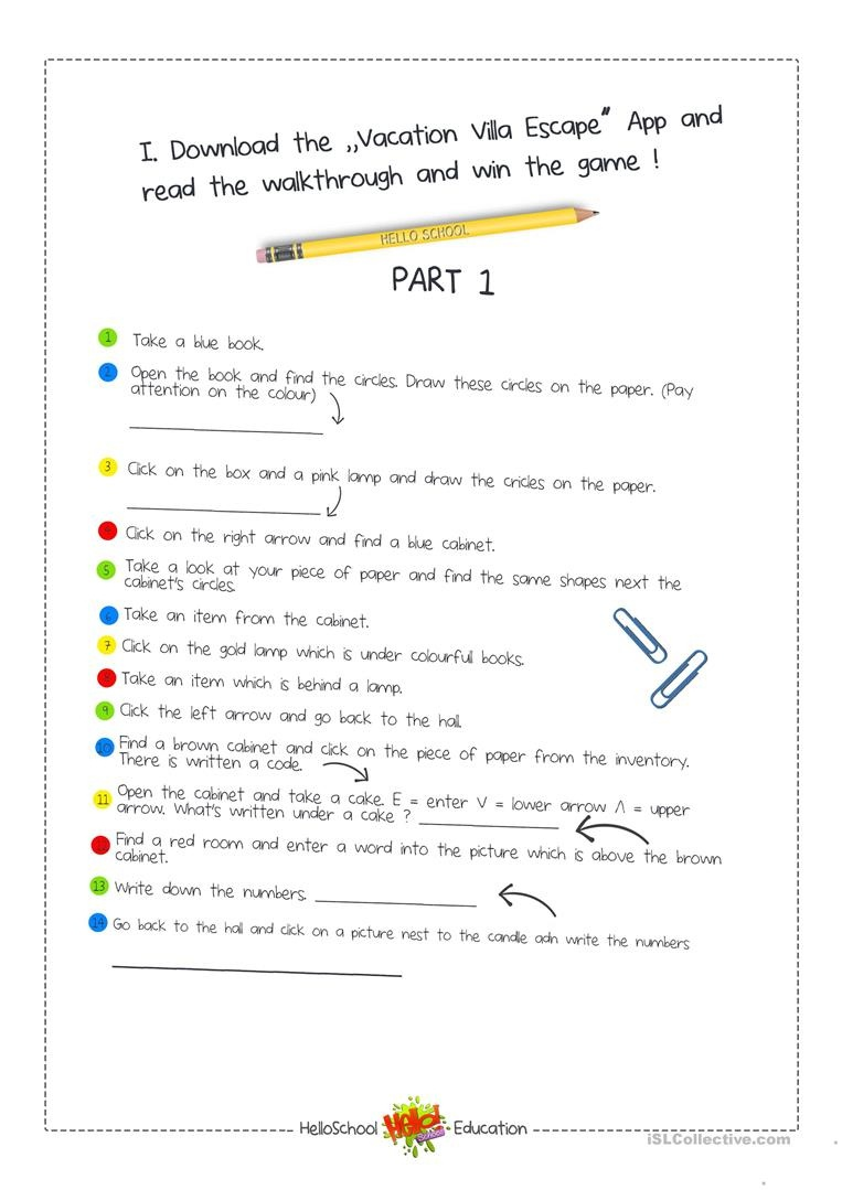 Escape Room Game Worksheet - Free Esl Printable Worksheets Made - Printable Escape Room Free