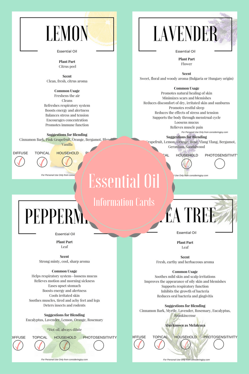Essential Oil Education- Free Printable! | Blog Love | Essential - Free Printable Doterra Sample Cards