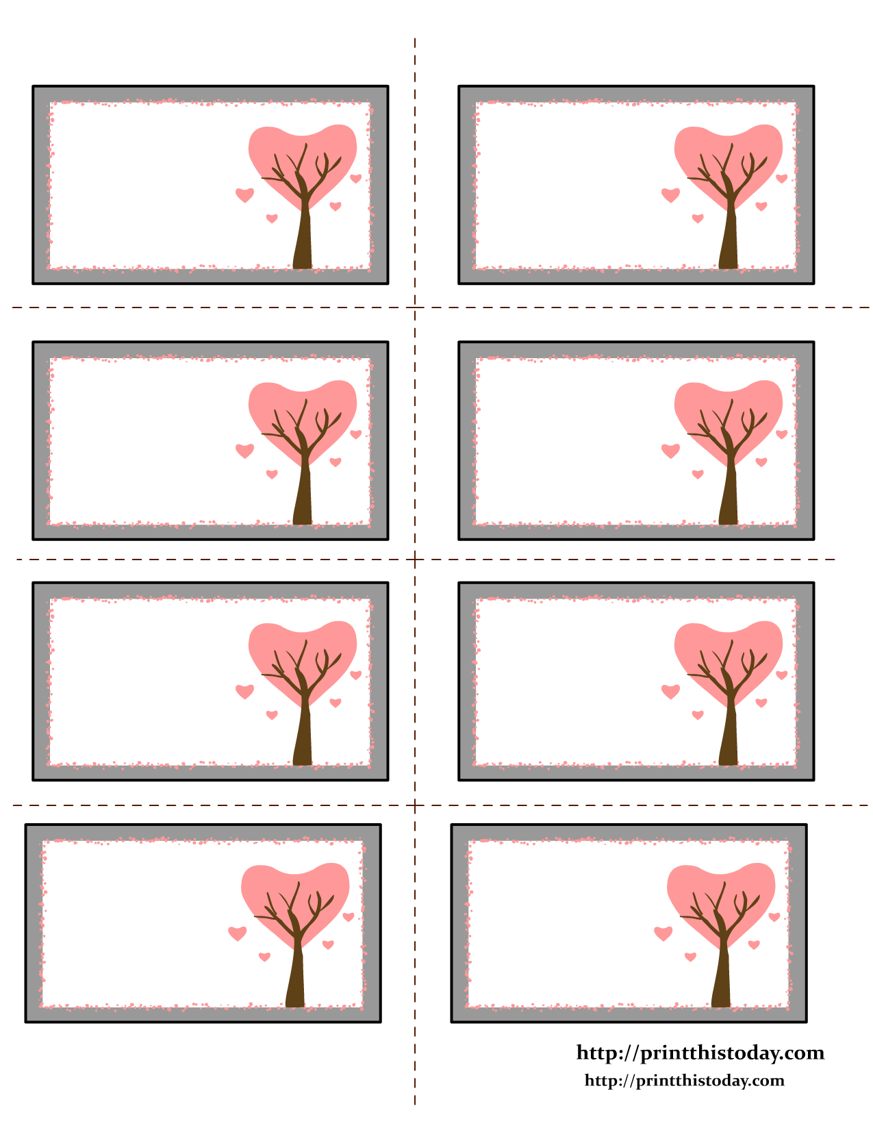 Etiquettes Imprimables   Valentine Labels With Love Birds On Tree - Free Printable Heart Labels