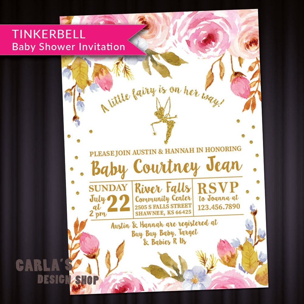 Fairy And Floral Theme Baby Shower Invitation With Tinkerbell   Etsy - Free Printable Tinkerbell Baby Shower Invitations