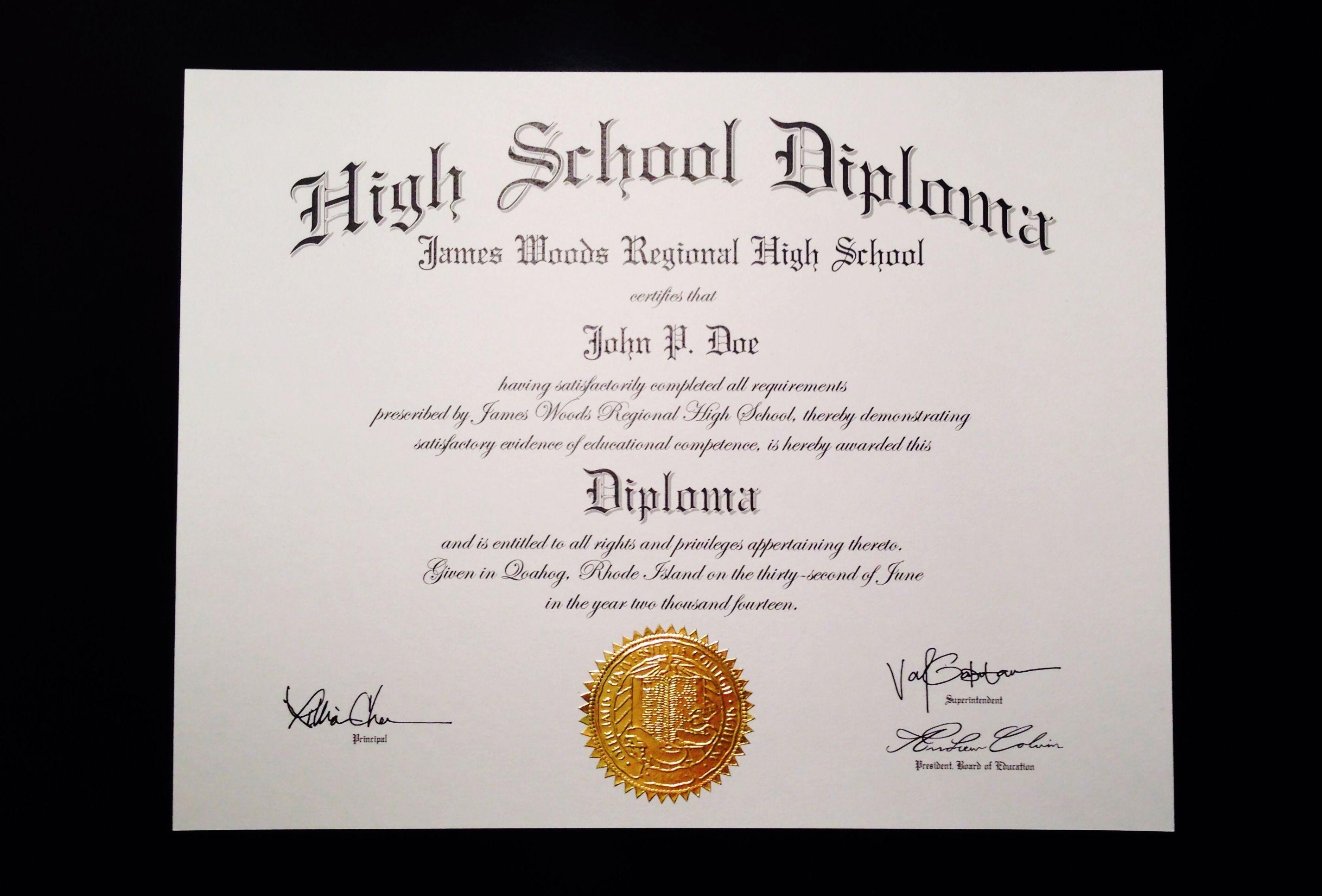 Fake+High+School+Diploma+Template | Jeffrey D Brammer | Fake High - Printable Fake Ged Certificate For Free