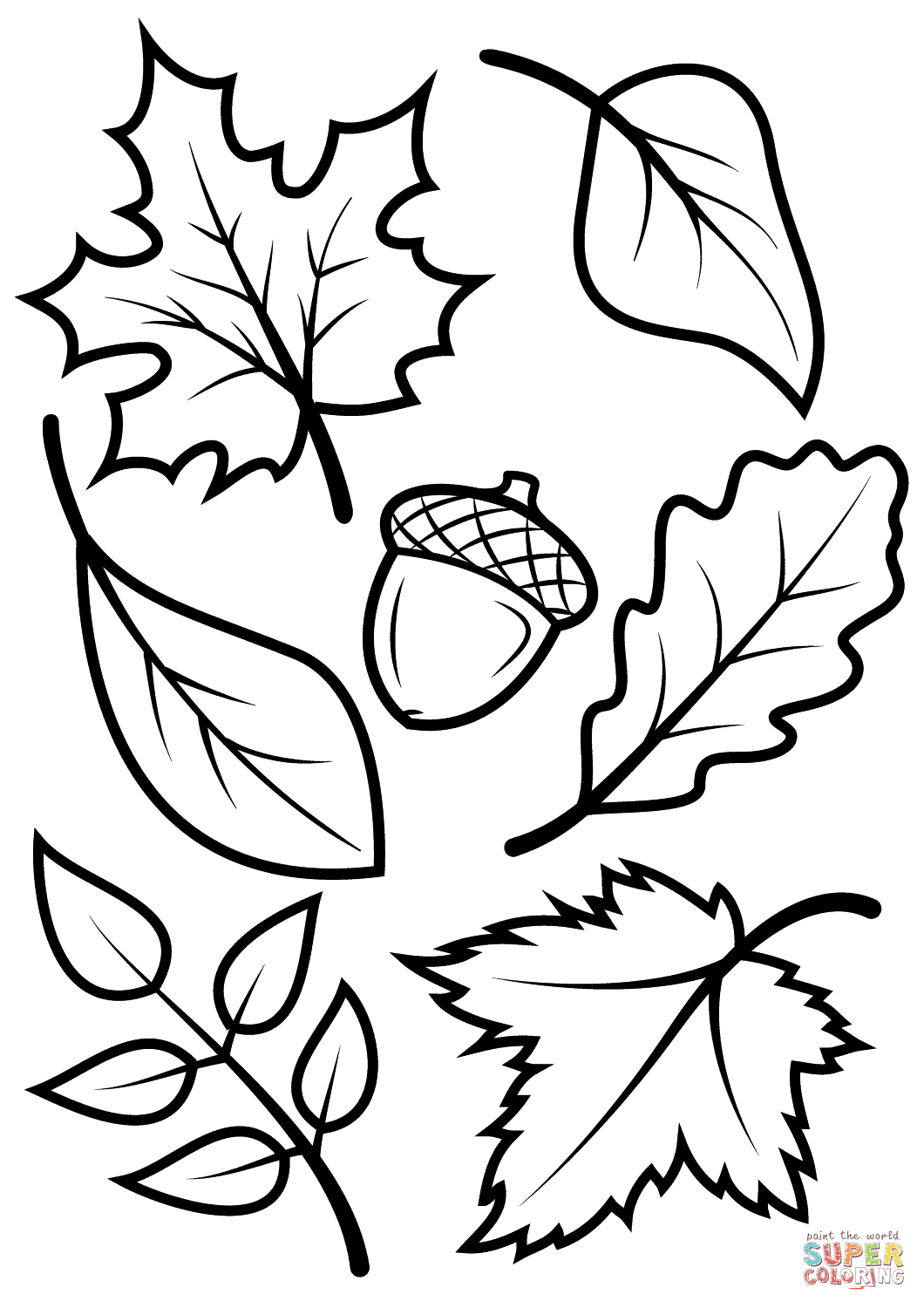 Fall Leaves And Acorn Coloring Page | Free Printable Coloring Pages - Free Fall Printable Coloring Sheets