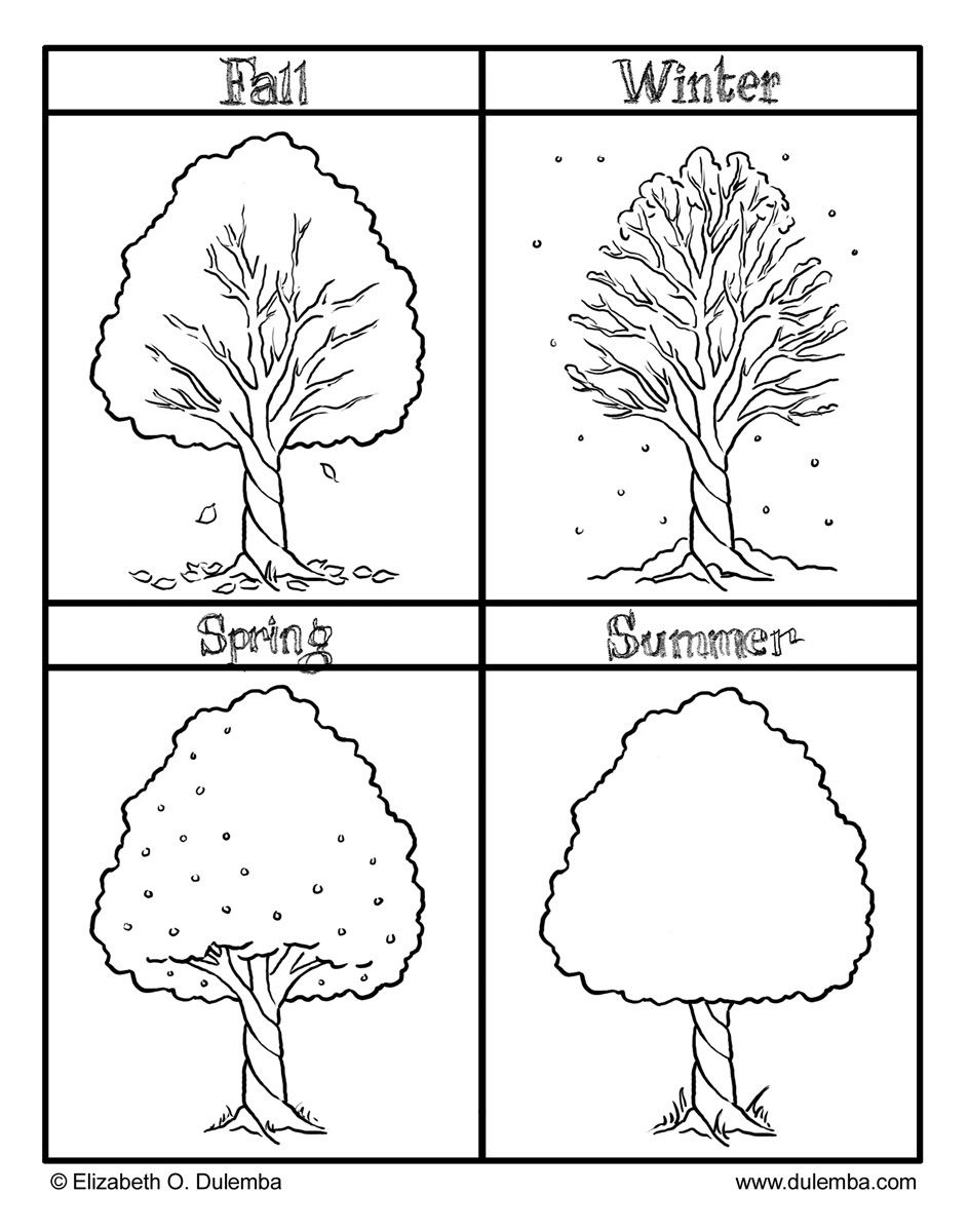 Fall, Winter, Spring And Summer! Seasons Coloring Pages For Kids - Free Printable Pictures Of The Four Seasons