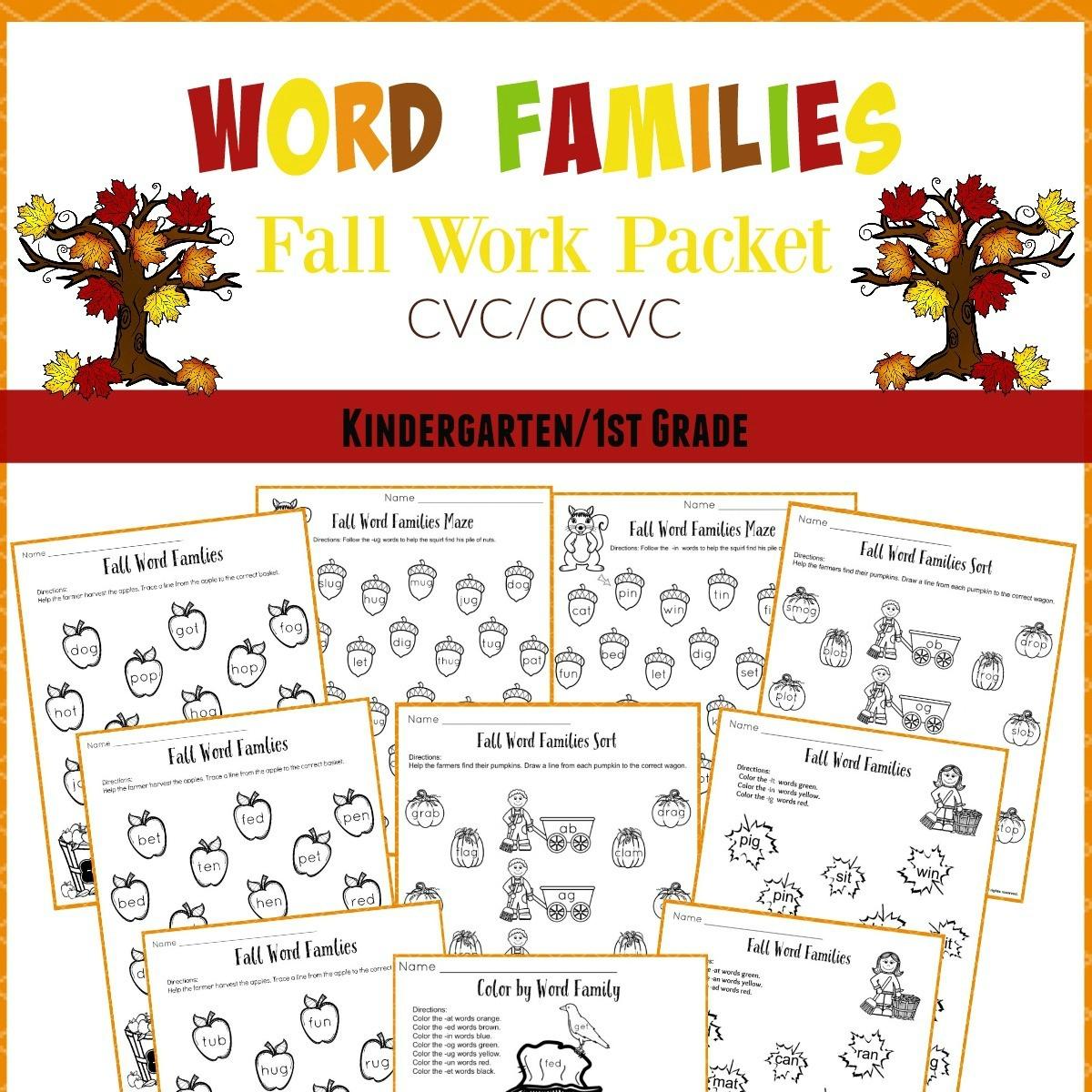 Fall Word Families Worksheets For Kindergarten Or 1St Grade - Free Printable Word Family Worksheets For Kindergarten