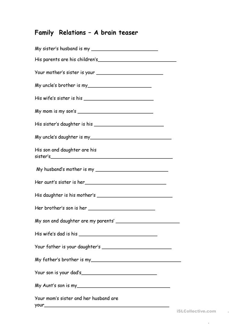 Family Relations - A Brain Teaser Worksheet - Free Esl Printable - Free Printable Brain Teasers Adults