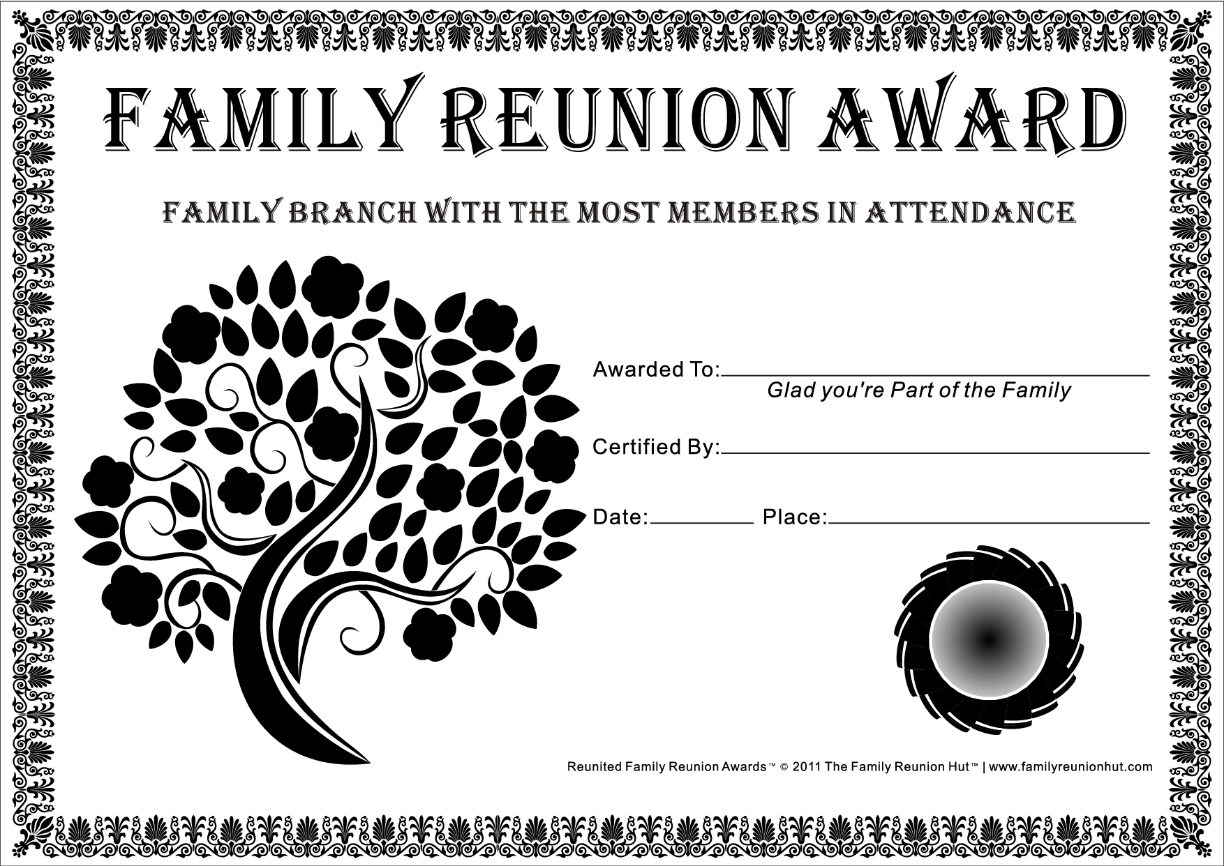 Family Reunion Certificates - Tree In Bloom 2 Is A Free Family - Free Printable Family Reunion Awards