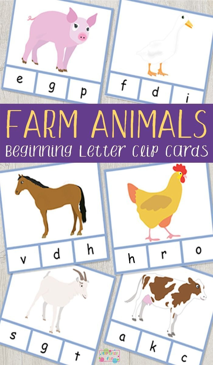 Farm Animals Beginning Letter Clip Cards | Farm | Farm Animals - Free Printable Farm Animal Pictures