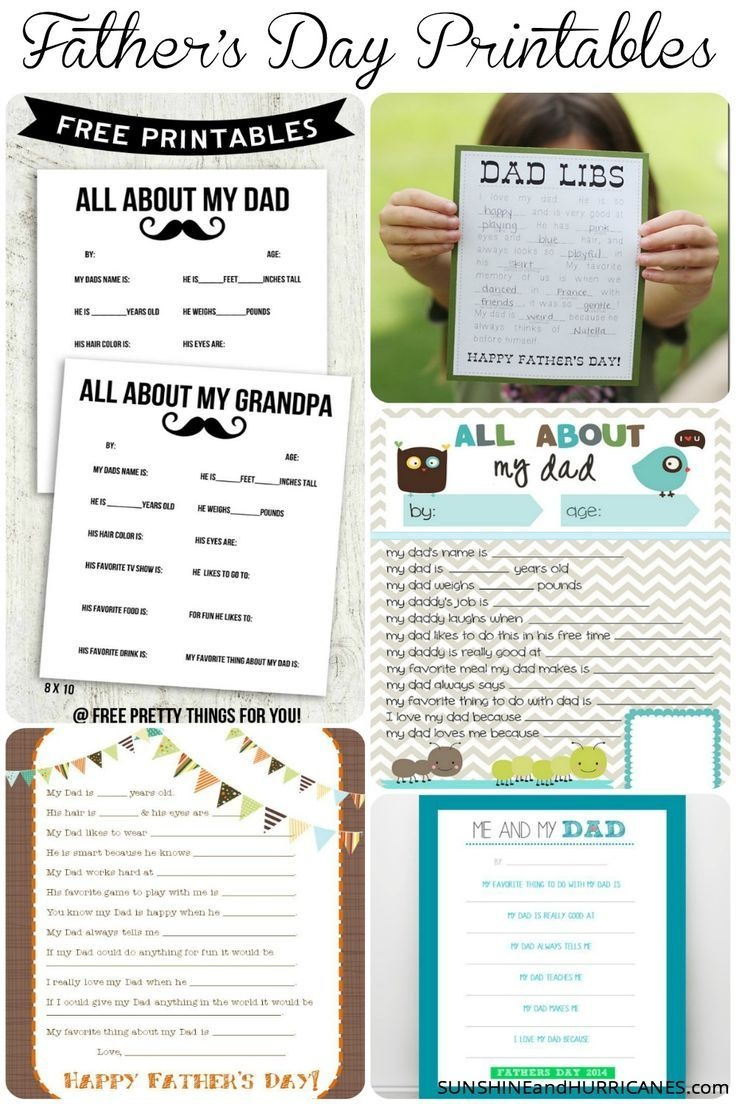 Father's Day Printable Round Up   Mother's Day & Father's Day - Free Printable Dad Questionnaire