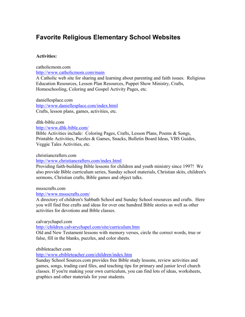 Favorite Religious Elementary School Websites - Free Printable Bible Lessons For Youth