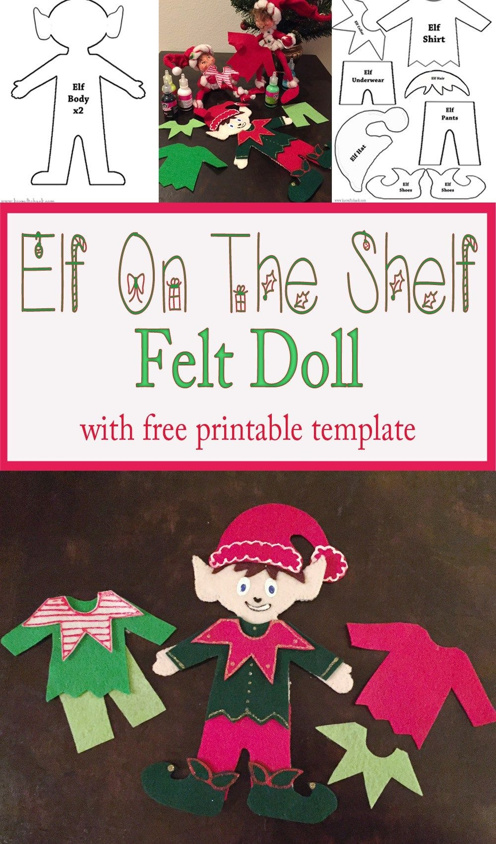Felt Elf On The Shelf Doll | Christmas | Felt Christmas Ornaments - Free Printable Elf Pattern