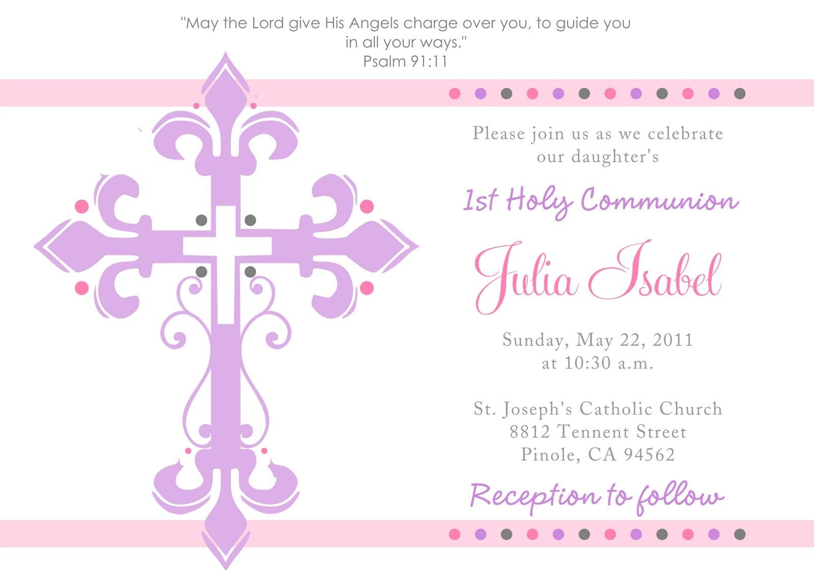 First Communion Invitation Template - Tutlin.psstech.co - Free Printable 1St Communion Invitations