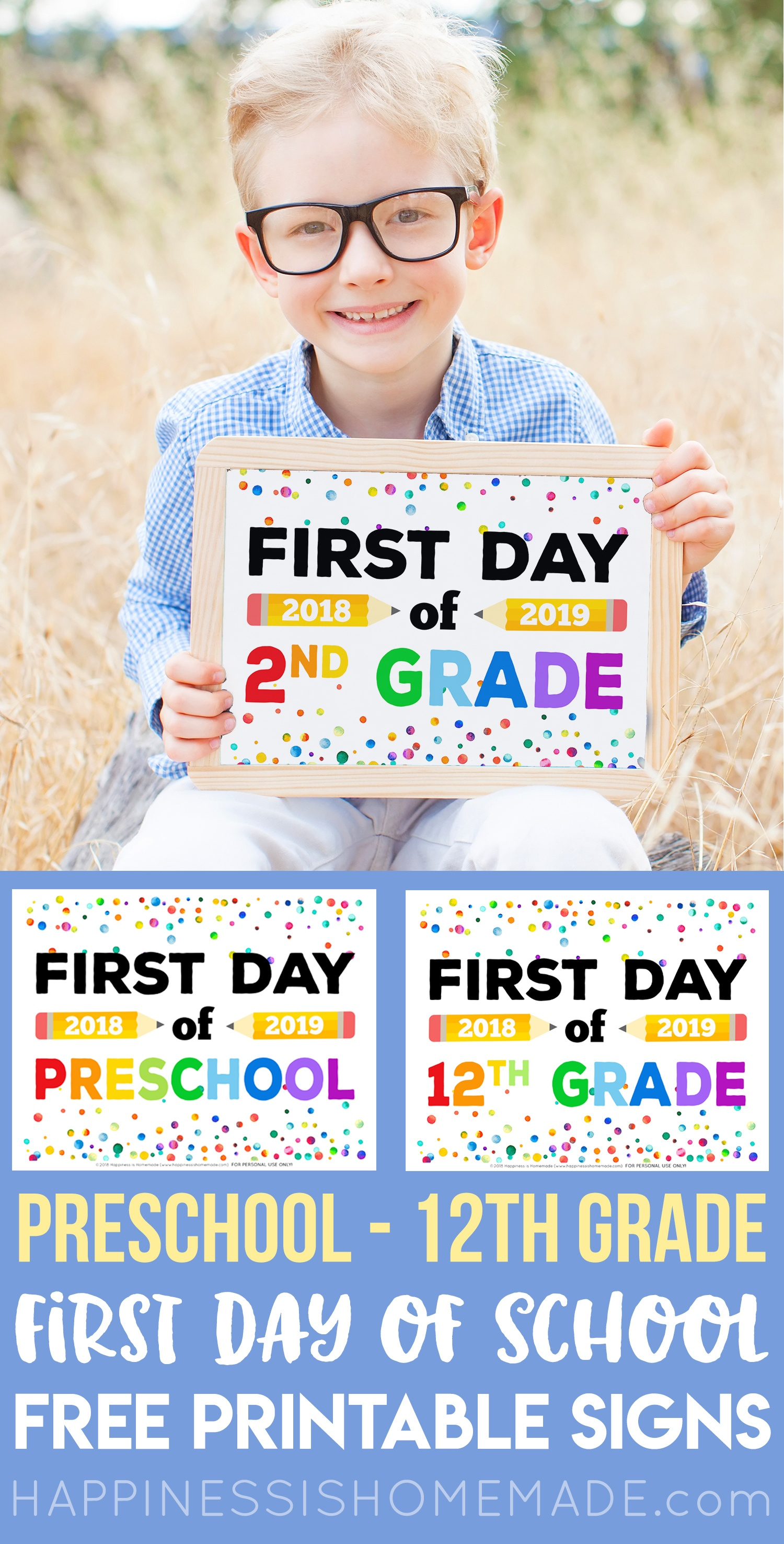 First Day Of School Signs - Free Printables - Happiness Is Homemade - Free Printable First Day Of School Signs
