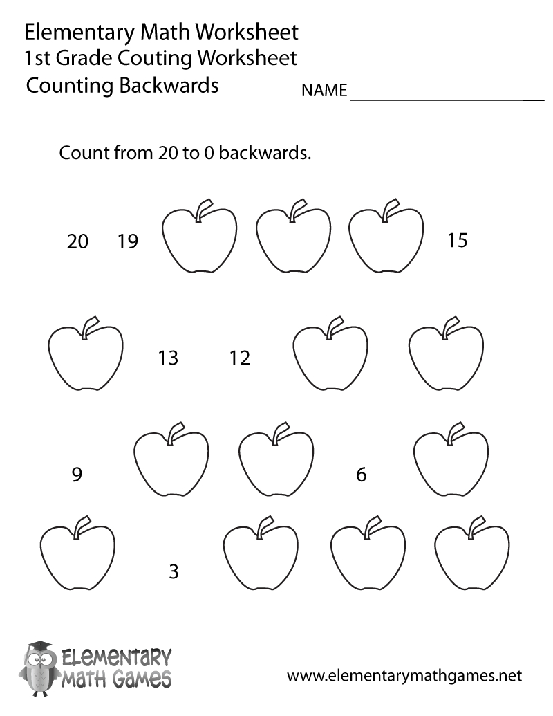 First Grade Counting Backwards Worksheet Printable | Math | 1St - Free Printable Addition Worksheets For 1St Grade