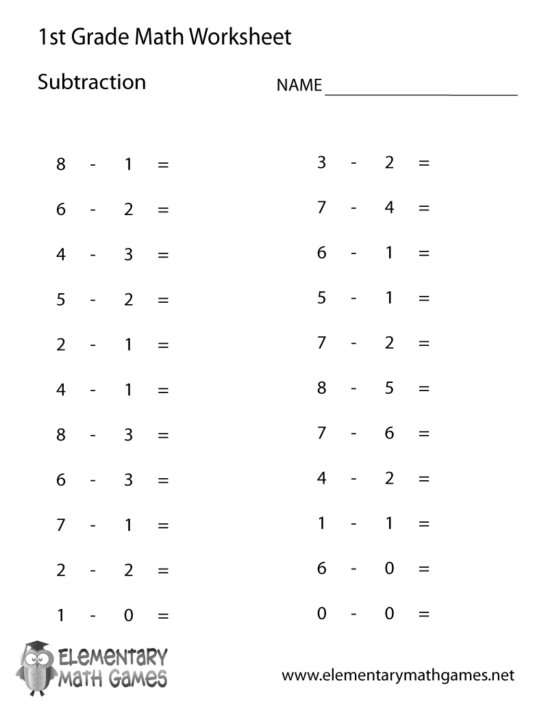 First Grade Subtraction Worksheet Printable | Berhitung | First - Free Printable First Grade Worksheets