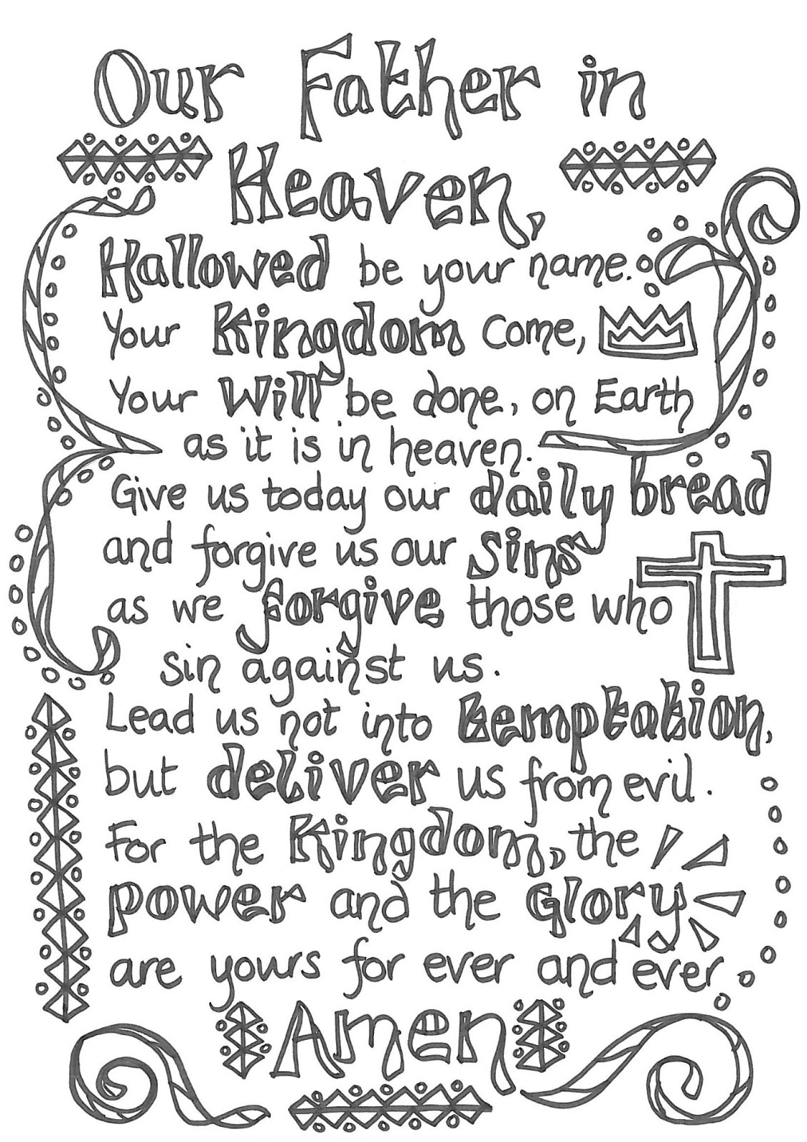 Flame: Creative Children's Ministry: Prayers To Colour In! - Free Printable Lord's Prayer Coloring Pages