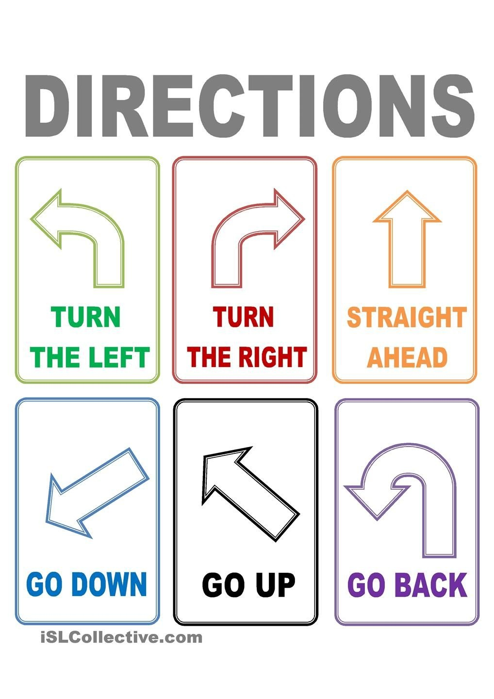 Flash Cards Directions   Places To Visit   Esl, Worksheets, Learn - Free Printable Ged Flashcards