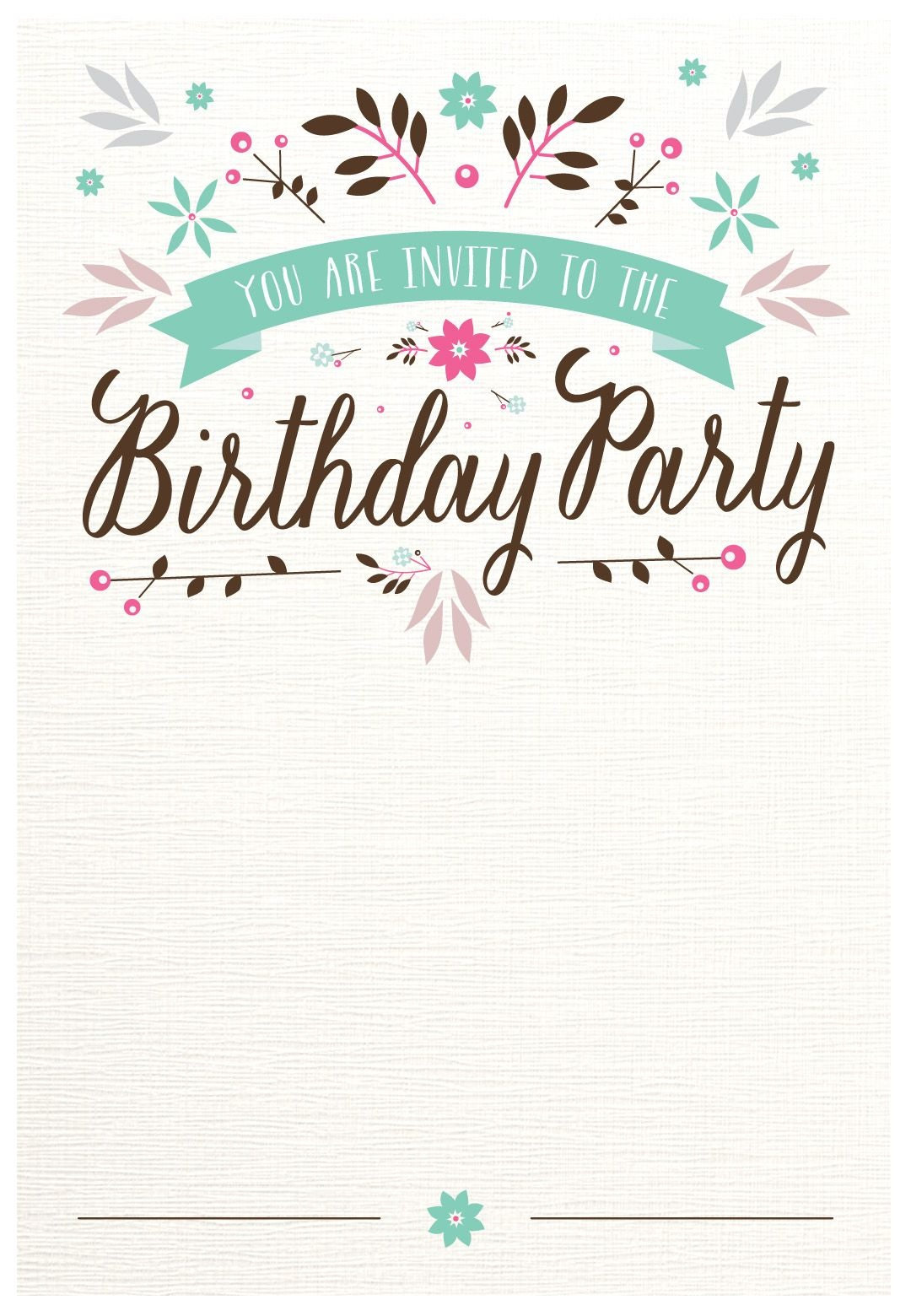 Flat Floral - Free Printable Birthday Invitation Template - Free Printable Birthday Invitations