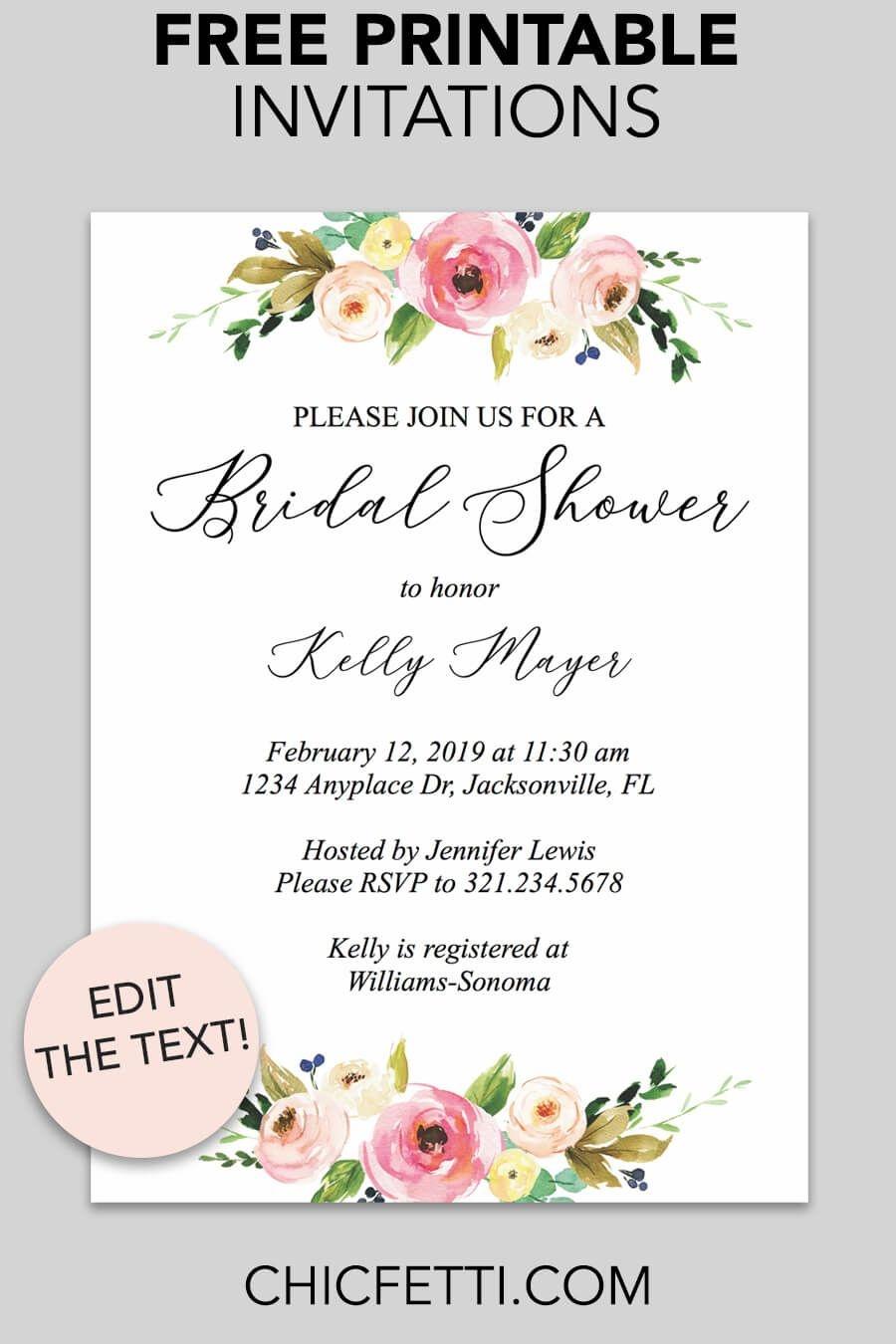 Floral Printable Invitation | Free Printable Invitations | Free - Free Printable Bridal Shower Invitations