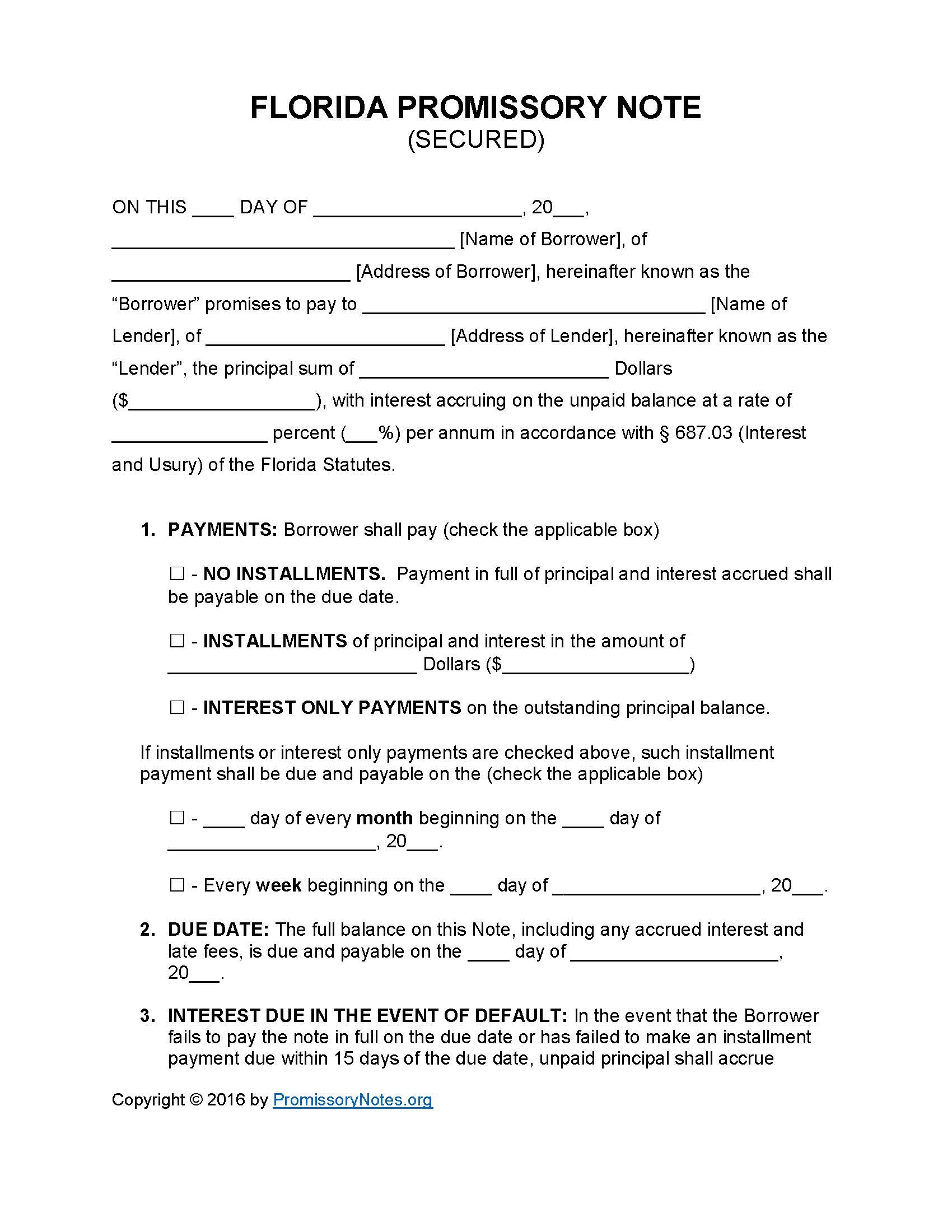 Florida Secured Promissory Note Template - Promissory Notes - Free Promissory Note Printable Form