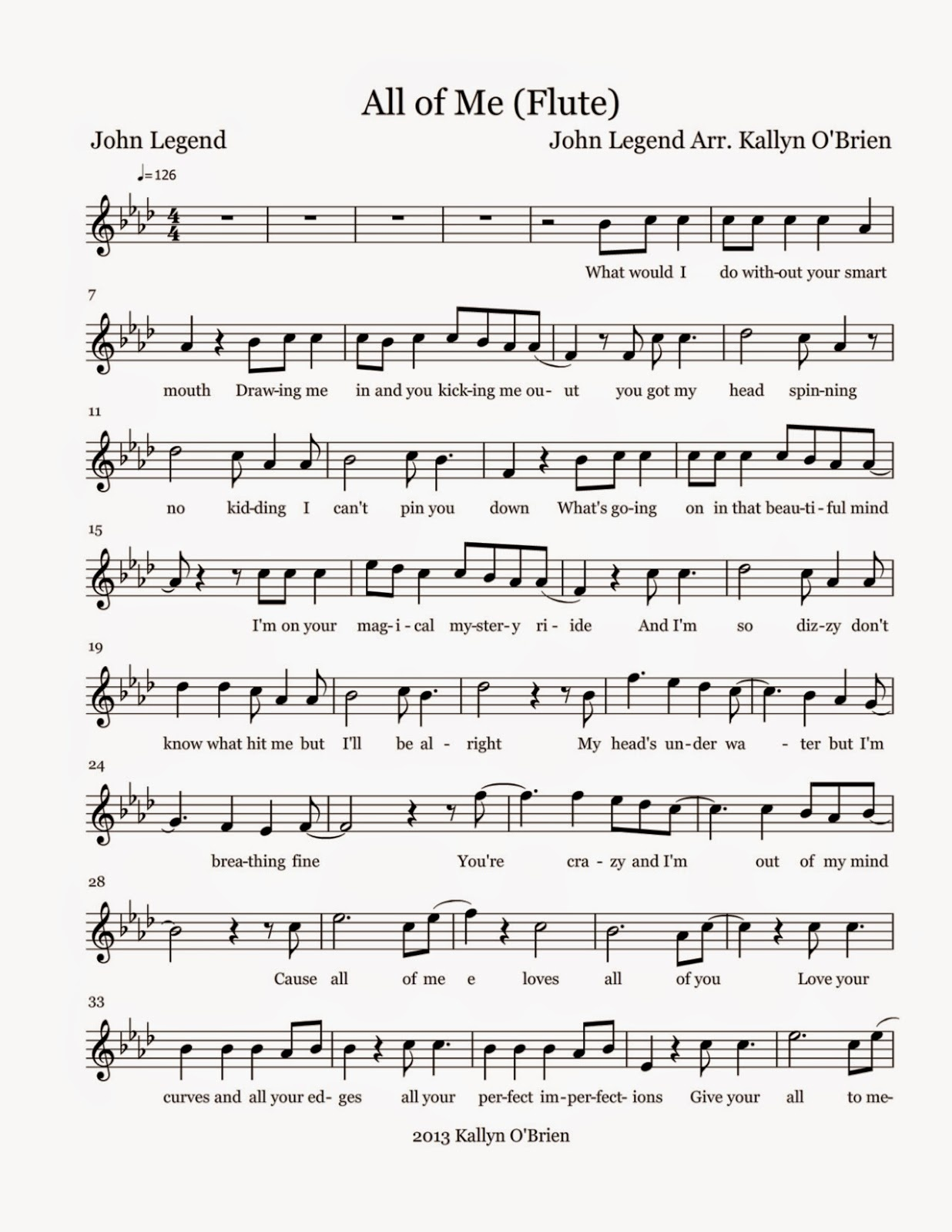 Flute Sheet Music: All Of Me - Sheet Music - Dynamite Piano Sheet Music Free Printable