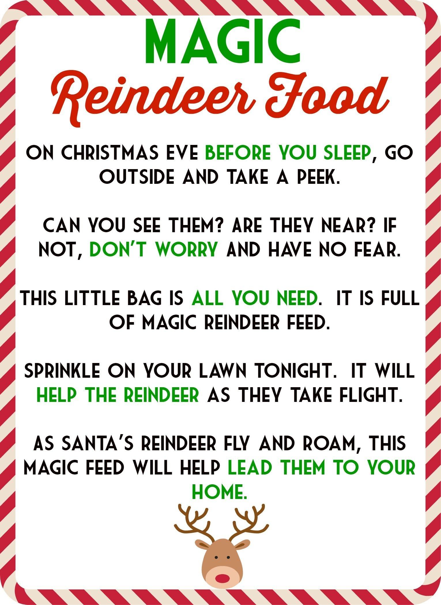 Food Recipes On | Kids | Magic Reindeer Food, Reindeer Food - Reindeer Food Poem Free Printable