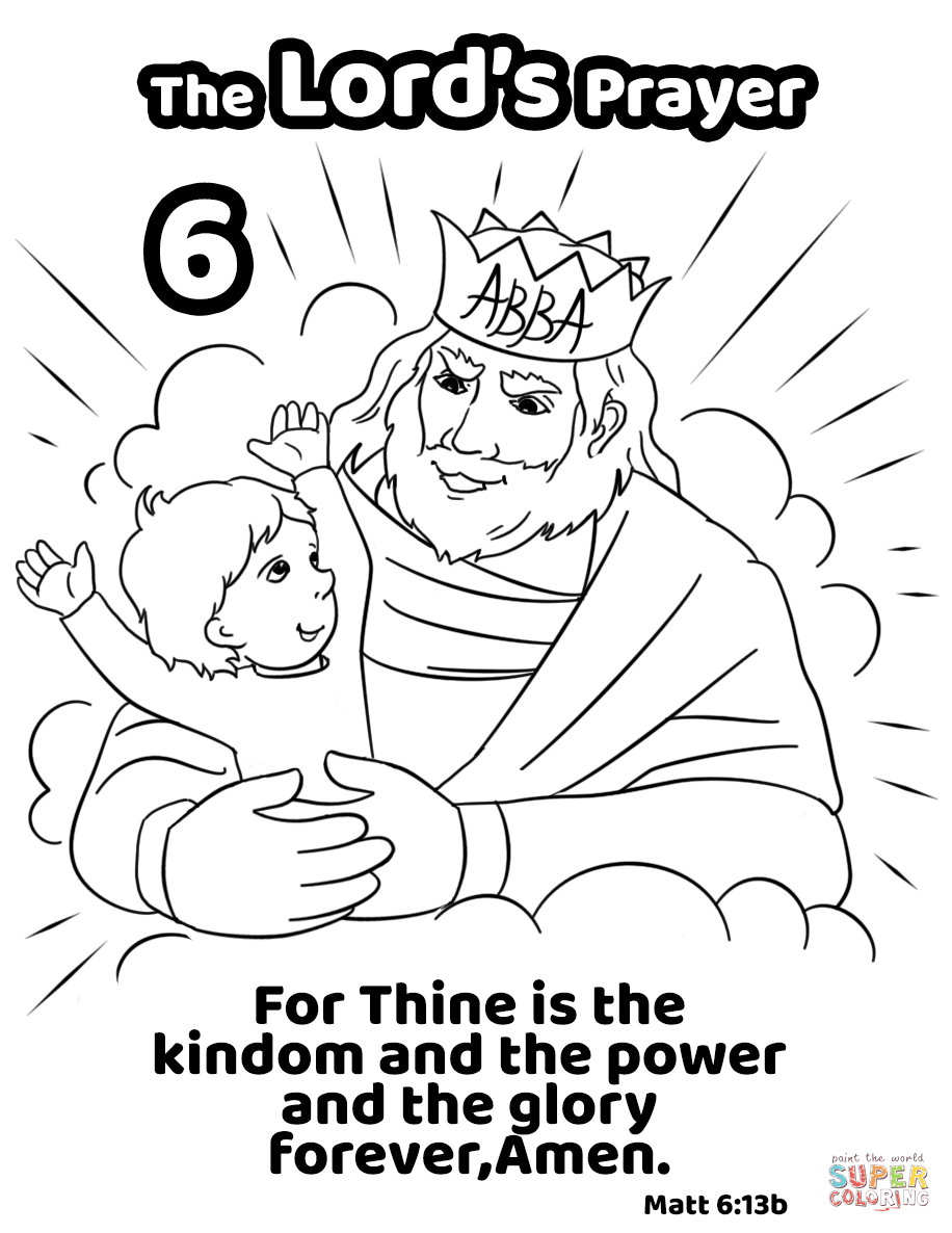 For Thine Is The Kingdom And The Power And The Glory Forever, Amen - Free Printable Lord's Prayer Coloring Pages