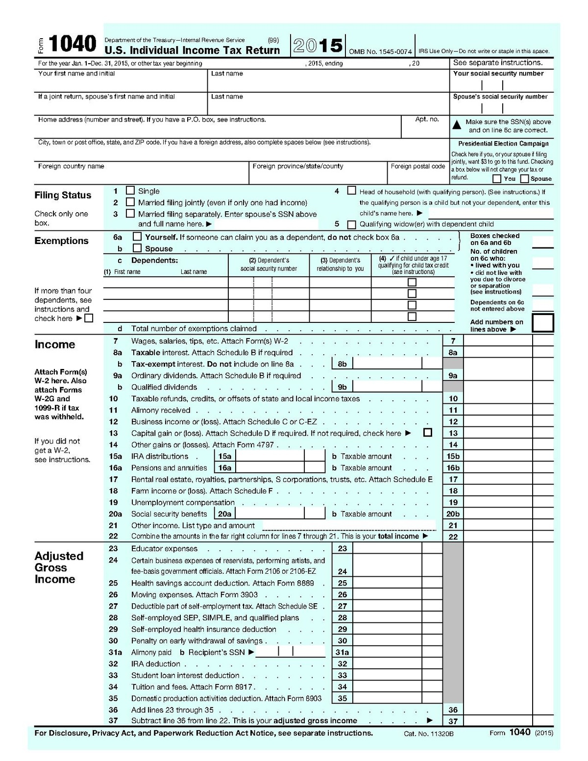 Form 1040 - Wikipedia - Free Printable Irs 1040 Forms