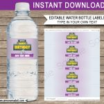Fortnite Water Bottle Labels Template | Fortnite Birthday Party   Free Printable Paris Water Bottle Labels