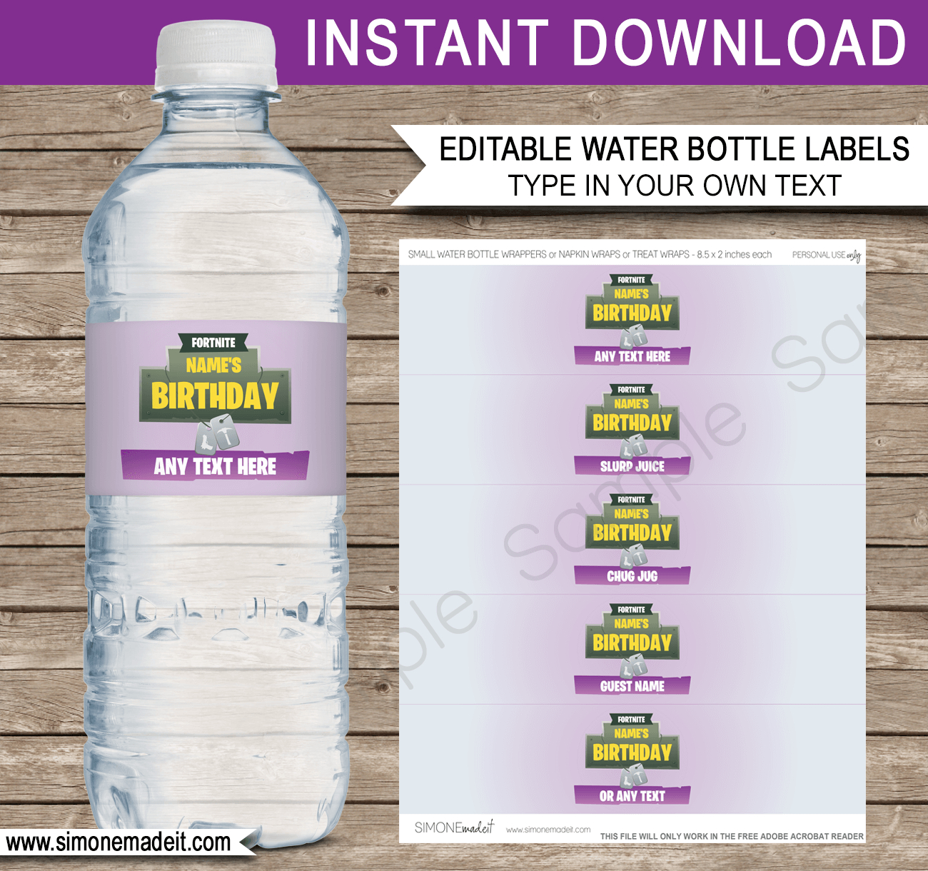 Fortnite Water Bottle Labels Template | Fortnite Birthday Party - Free Printable Paris Water Bottle Labels