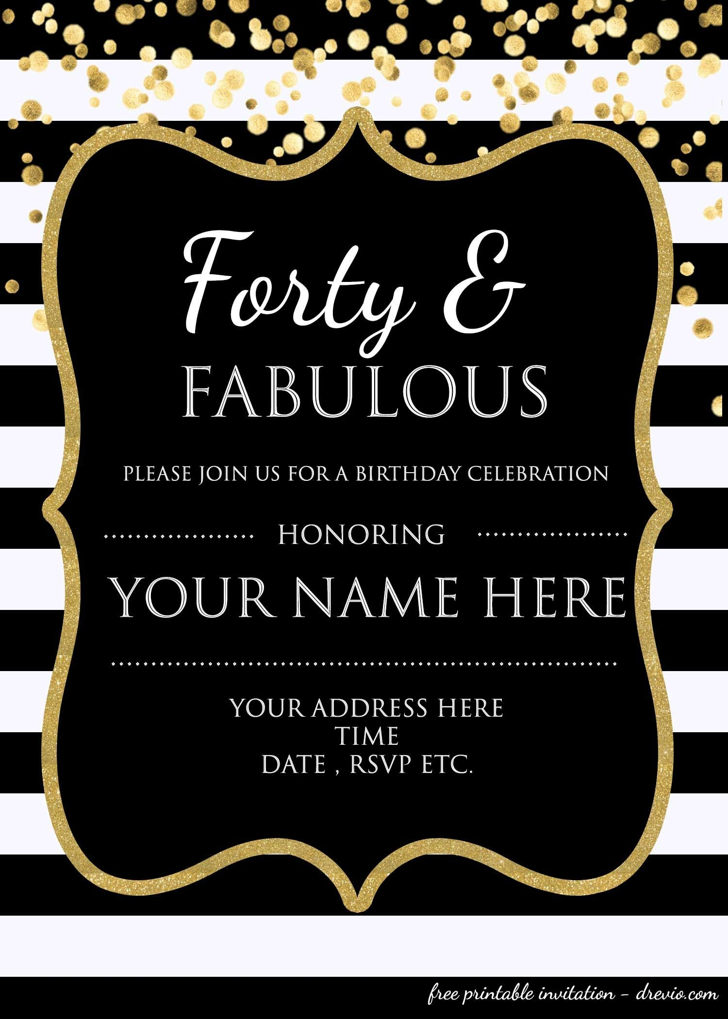 Forty & Fabulous : 40Th Birthday Invitation Template - Psd - Free Printable Surprise Party Invitation Templates