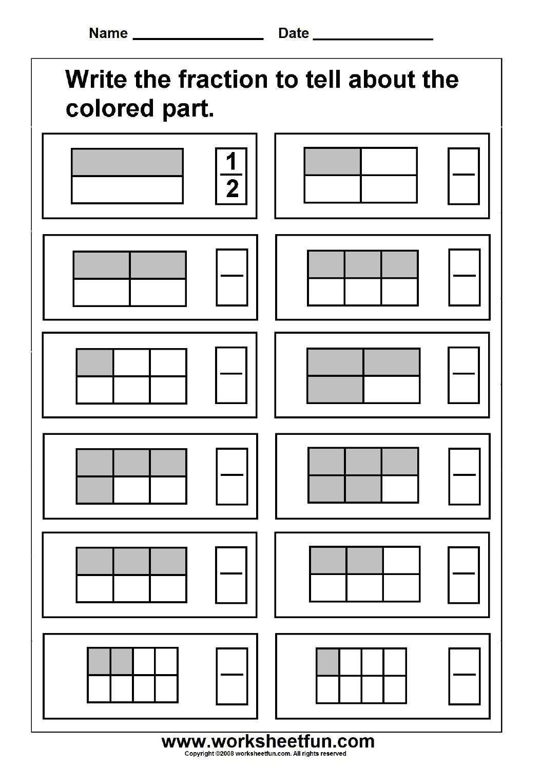 Fraction Model / Free Printable Worksheets – Worksheetfun - Free Printable Fraction Worksheets