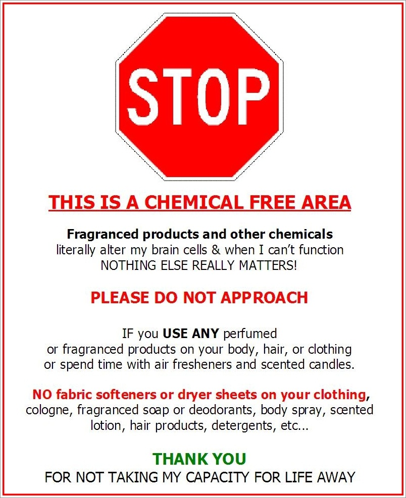 """Fragrance-Free Door Signs   Seriously """"sensitive"""" To Pollution - Free Printable Fragrance Free Signs"""