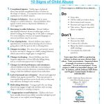 Free 10 Signs Of Child Abuse Handout | Child And Parent Services   Free Printable Patient Education Handouts