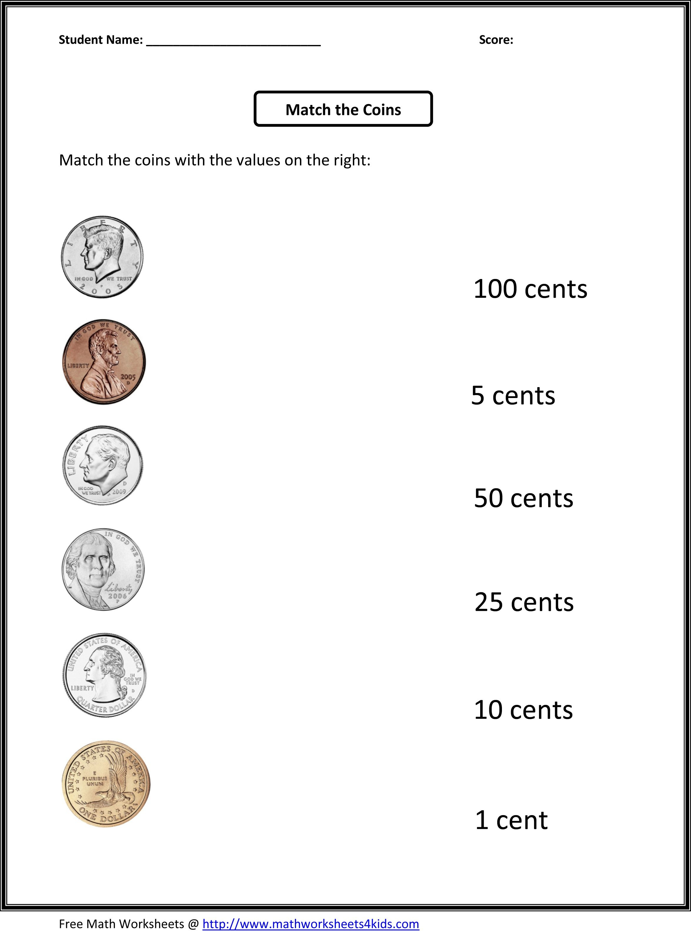 Free 1St Grade Worksheets | Match The Coins And Its Values - Free Printable Money Worksheets For Kindergarten