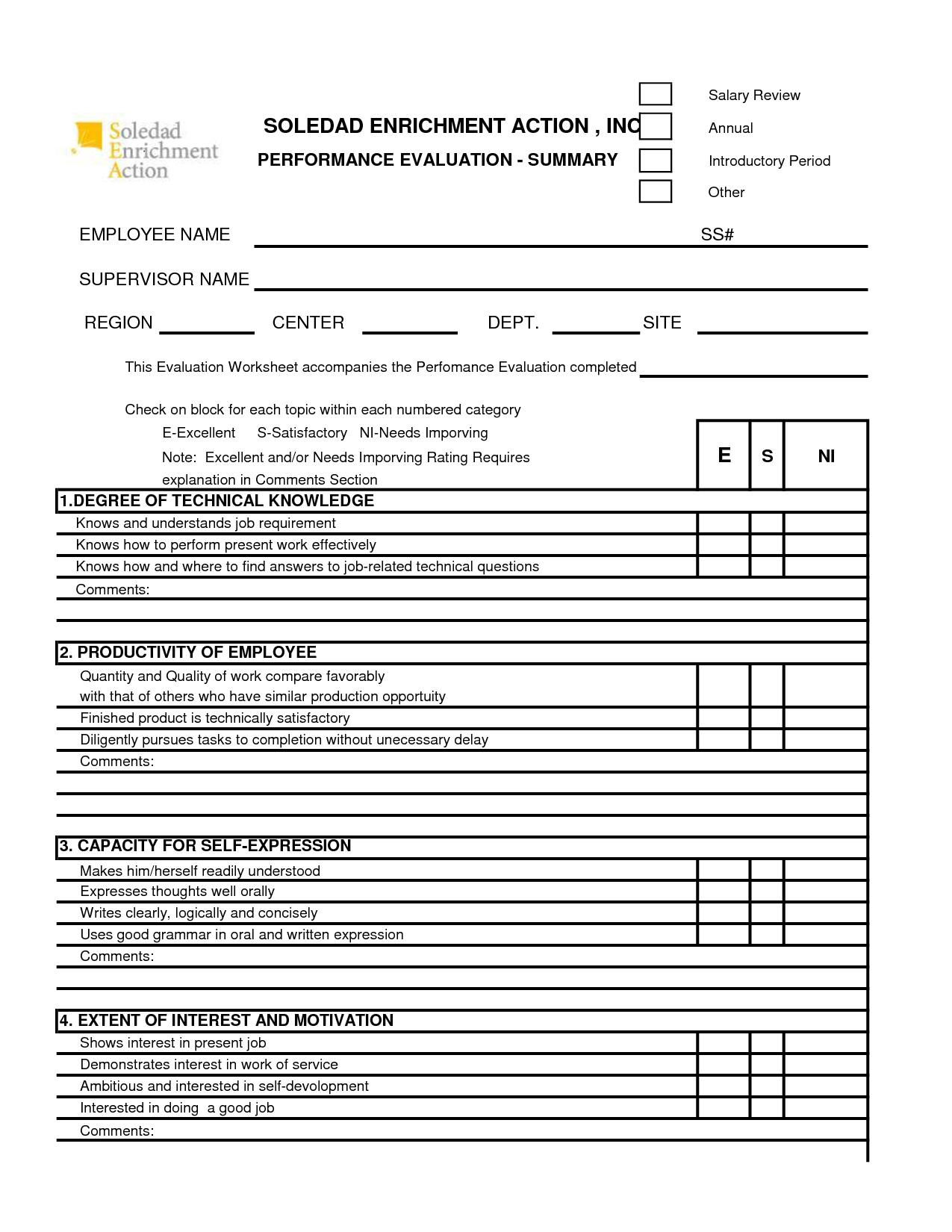 Free 360 Performance Appraisal Form - Google Search | The Career - Free Employee Self Evaluation Forms Printable