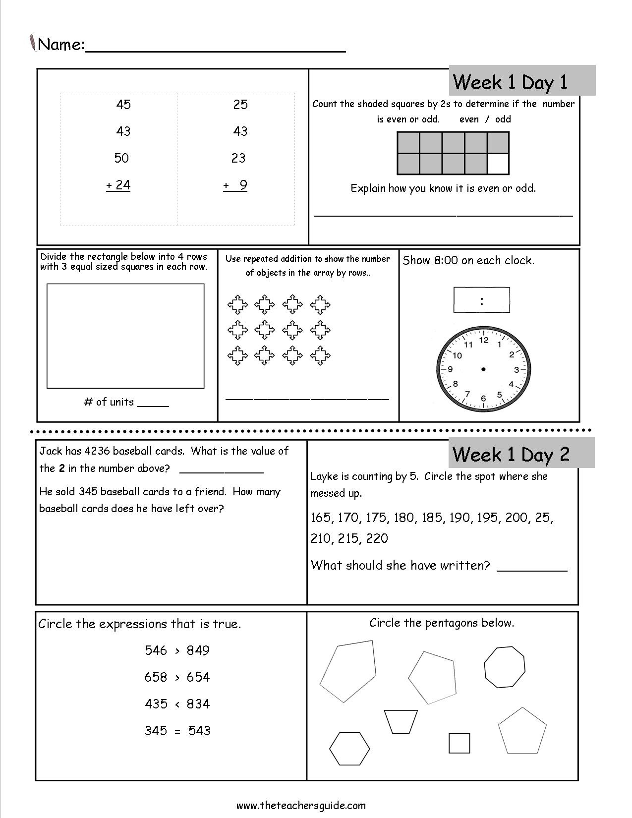 Free 3Rd Grade Daily Math Worksheets - Free Printable Common Core Math Worksheets For Third Grade