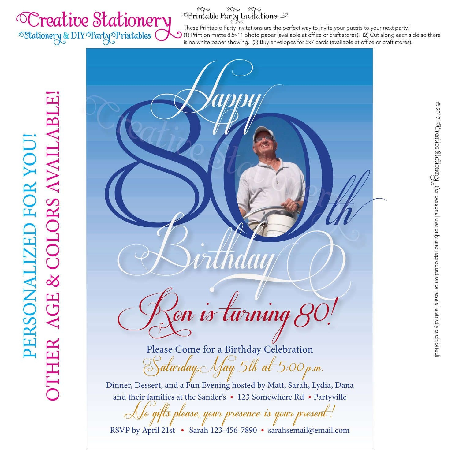 Free 80Th Birthday Invitations Templates | Free Printable - Printable Invitation Templates Free Download