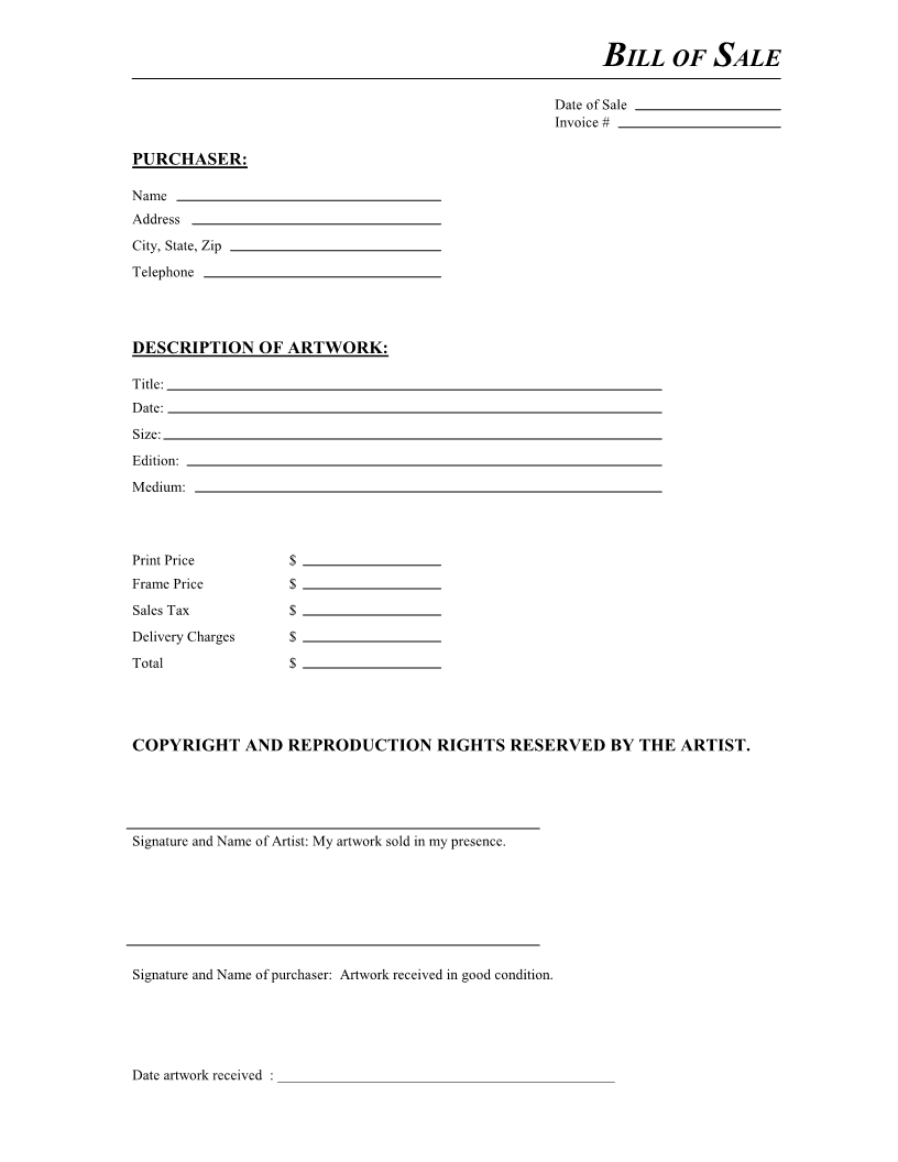 Free Artwork Bill Of Sale Form - Download Pdf | Word - Free Printable Bill Of Sale