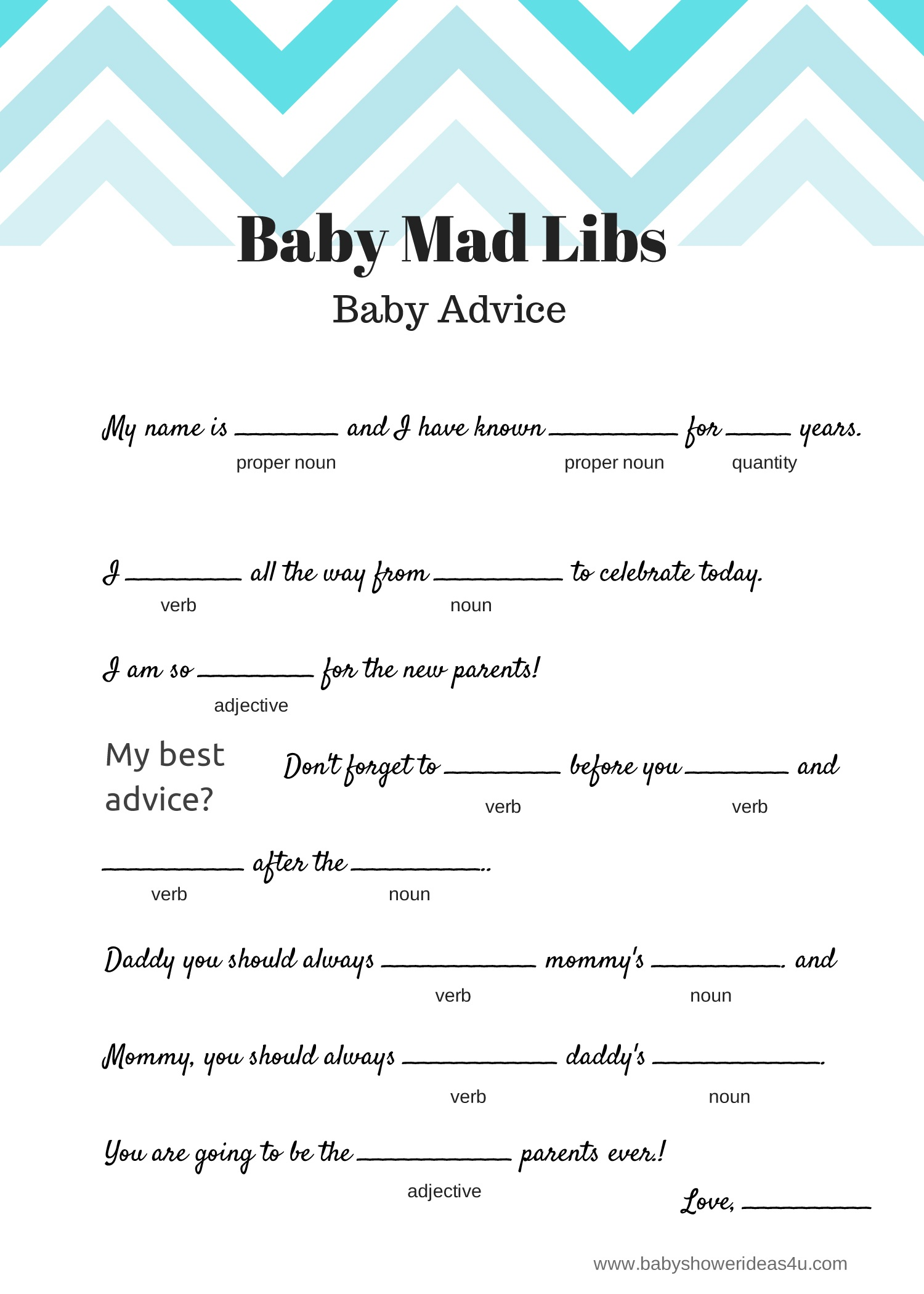 Free Baby Mad Libs Game - Baby Advice - Baby Shower Ideas - Themes - Baby Shower Mad Libs Printable Free