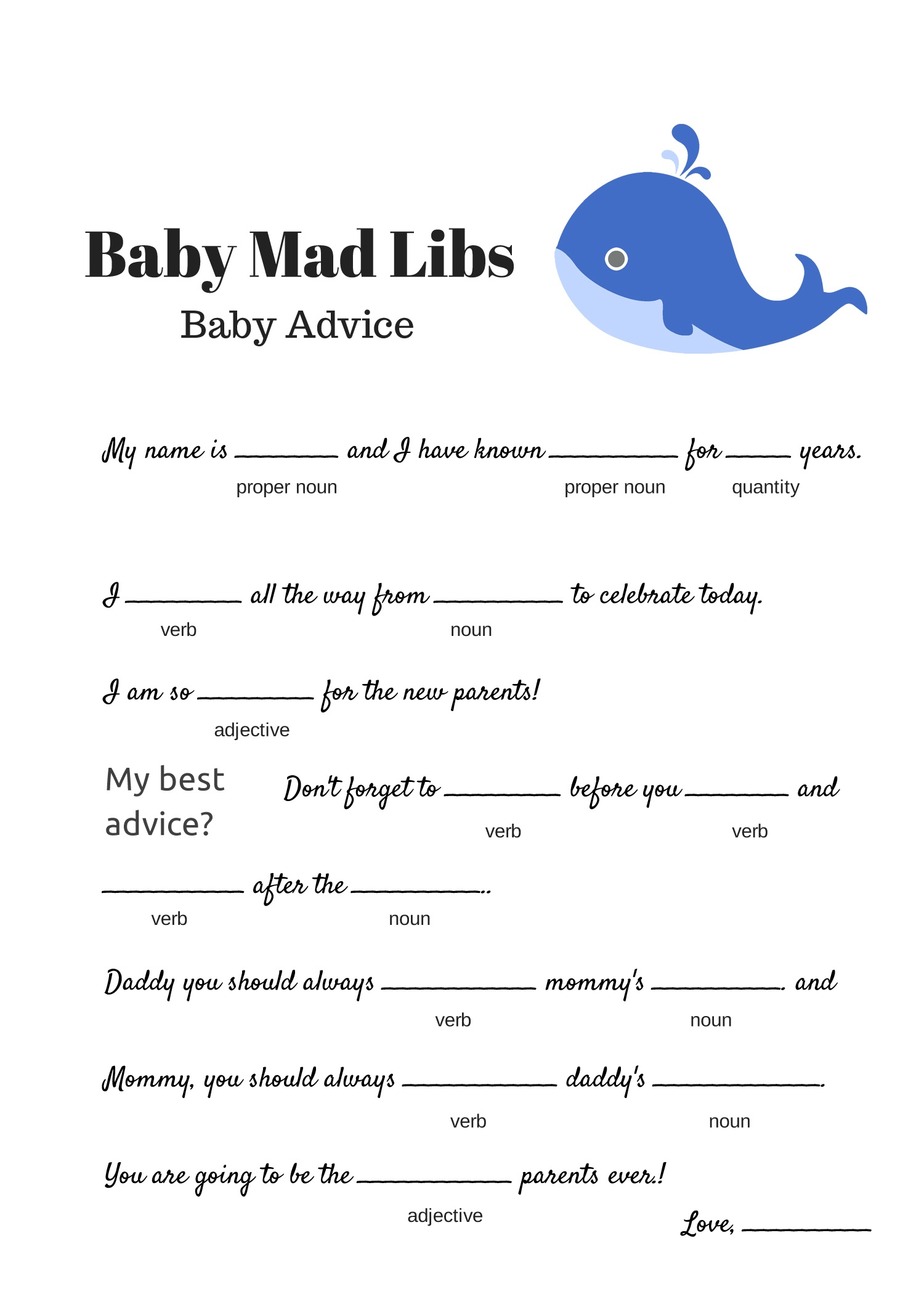 Free Baby Mad Libs Game - Baby Advice - Baby Shower Ideas - Themes - Free Printable Baby Shower Games For Twins
