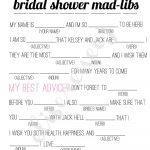 Free Bachelorette Party Mad Libs | Printable Bridal Shower Madlib   Free Printable Wedding Mad Libs