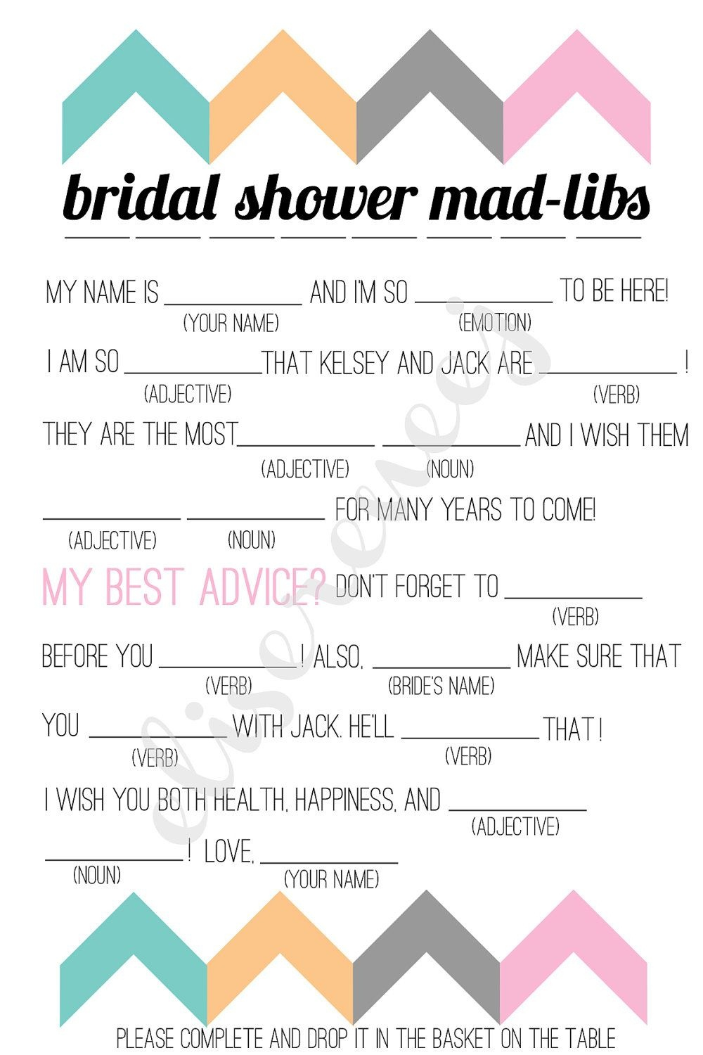 Free Bachelorette Party Mad Libs | Printable Bridal Shower Madlib - Free Printable Wedding Mad Libs