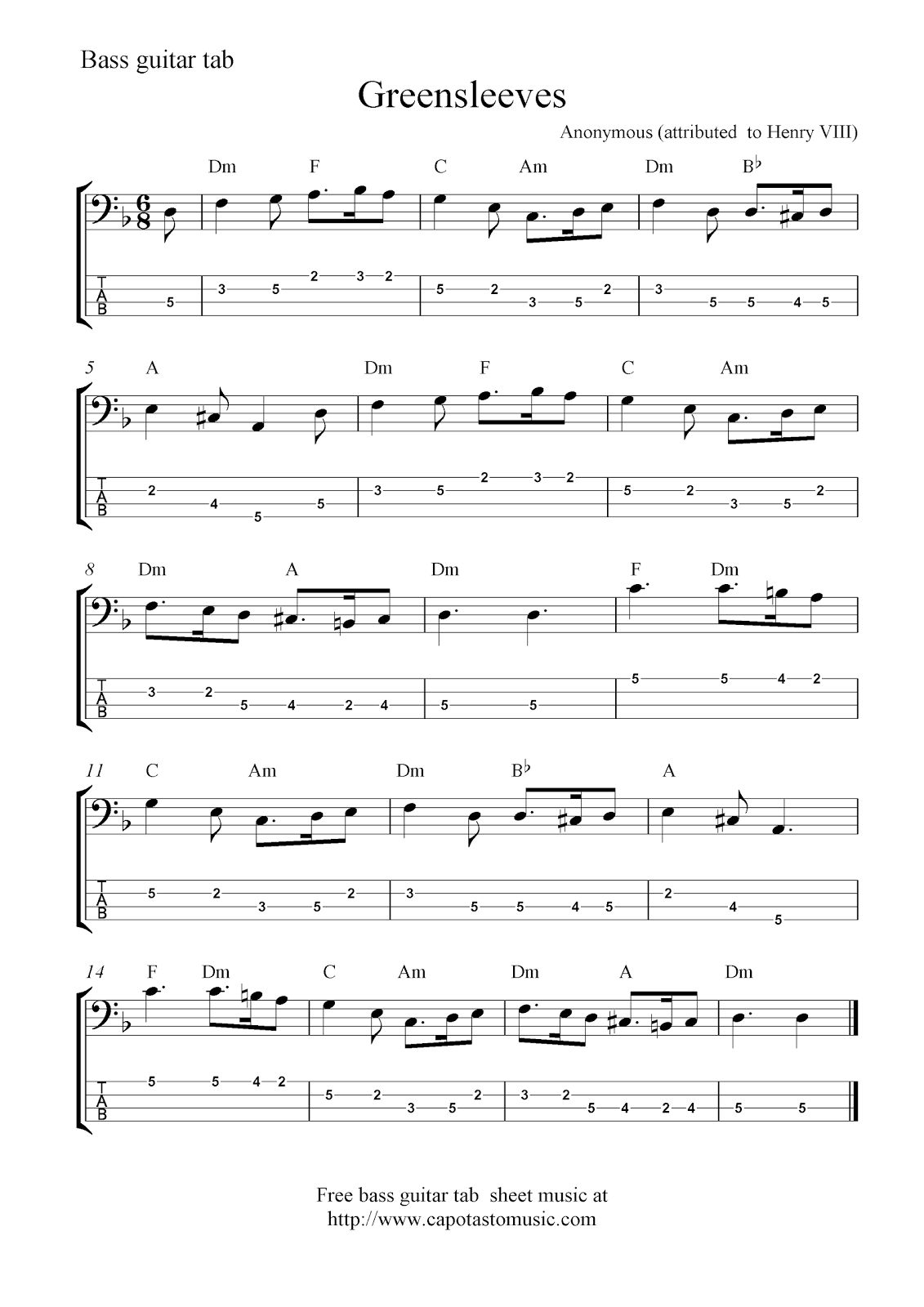 Free Bass Guitar Tab Sheet Music, Greensleeves - Free Printable Guitar Tabs For Beginners