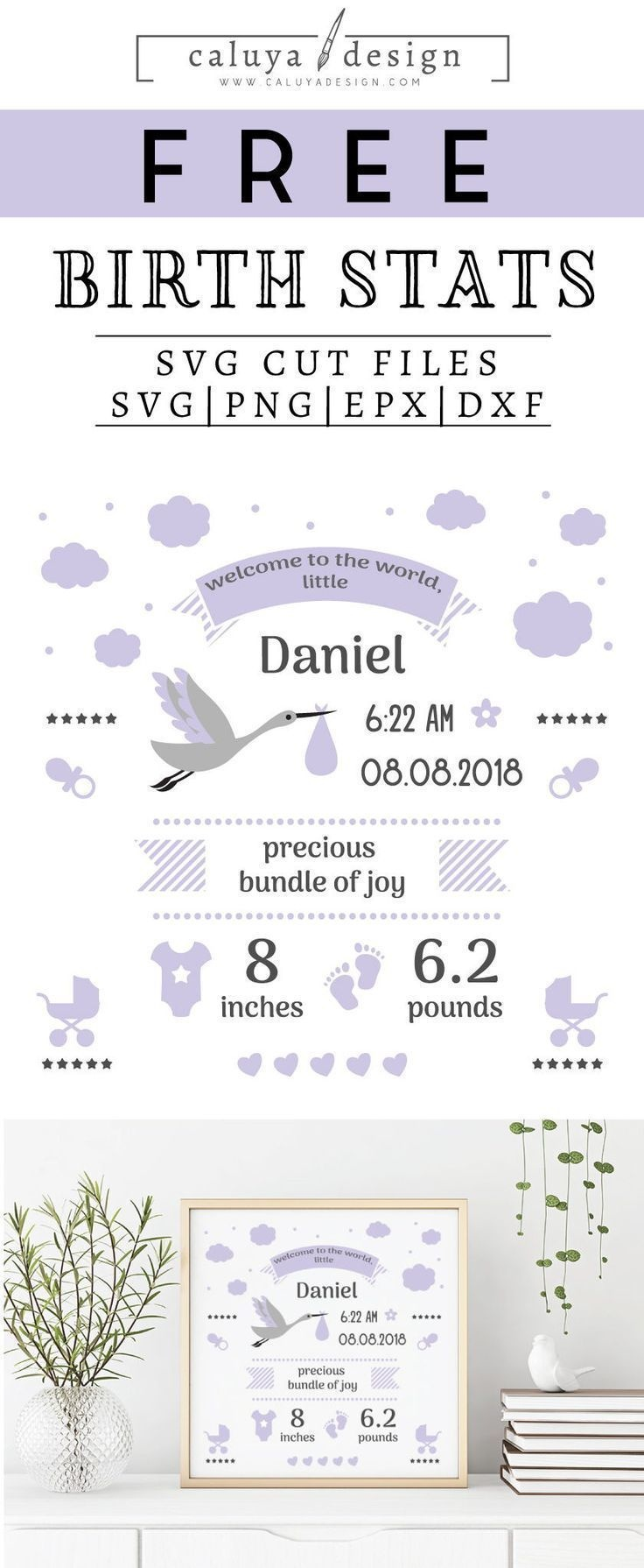 Free Birth Stats Board Svg, Png, Eps & Dxf| Free Svg & Png - Free Printable Baby Announcement Templates
