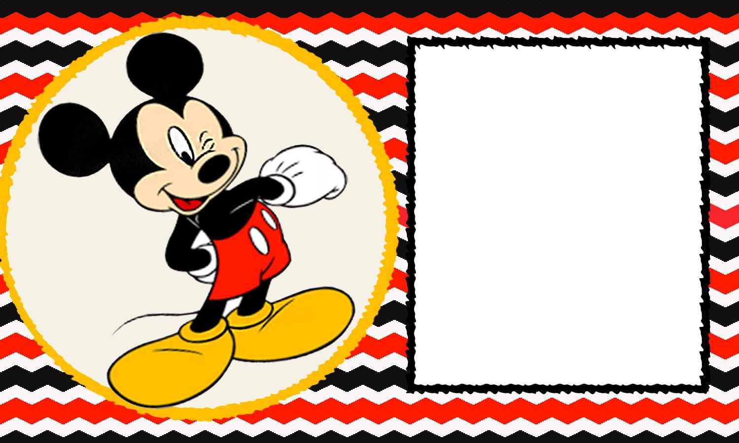 Free-Blank-Mickey-Mouse-1St-Invitation-Chevron-Template – Drevio - Free Mickey Mouse Printable Templates