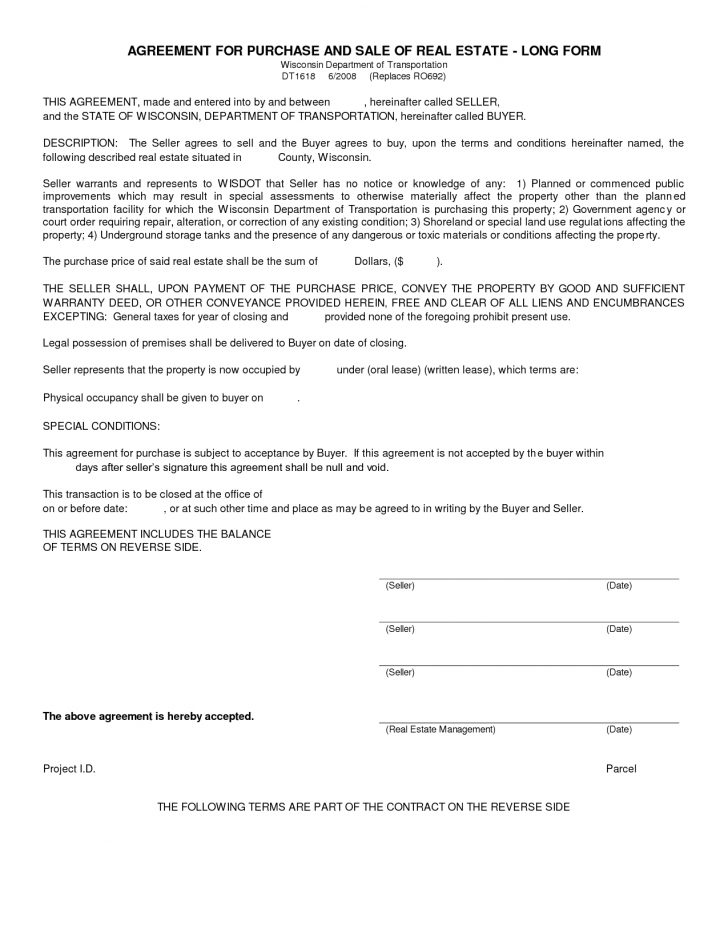 Free Printable Land Contract Forms