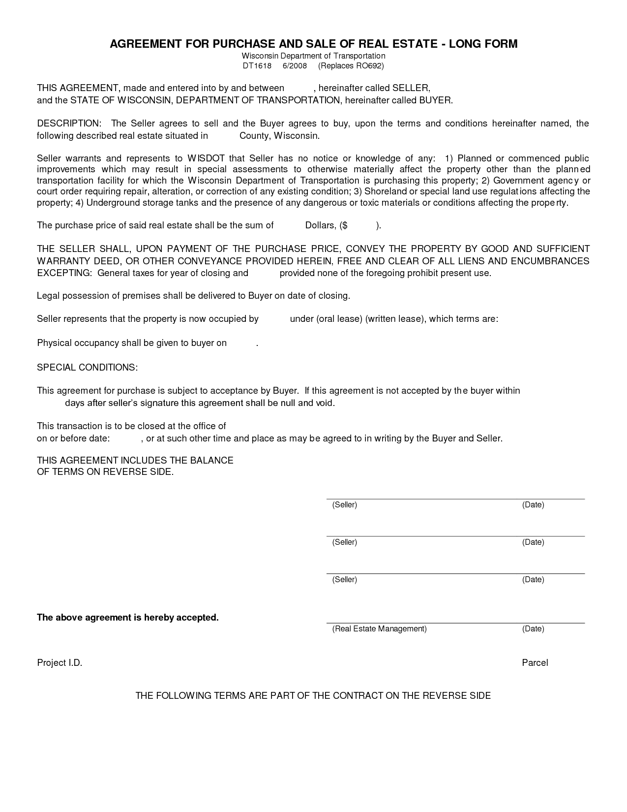 Free Blank Purchase Agreement Form Images - Agreement To Purchase - Free Printable Land Contract Forms