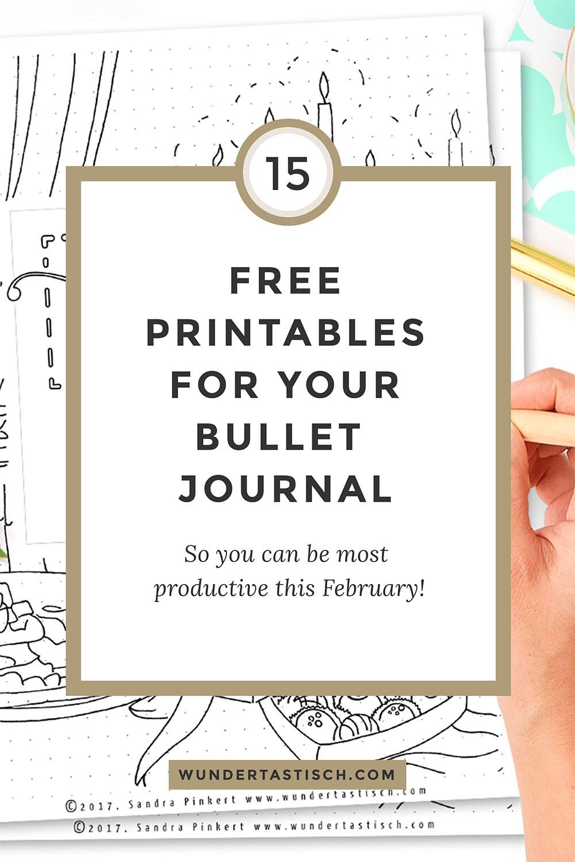 Free Bullet Journal Printables February 2017 - Wundertastisch - Free Printable Bullet Journal Pages